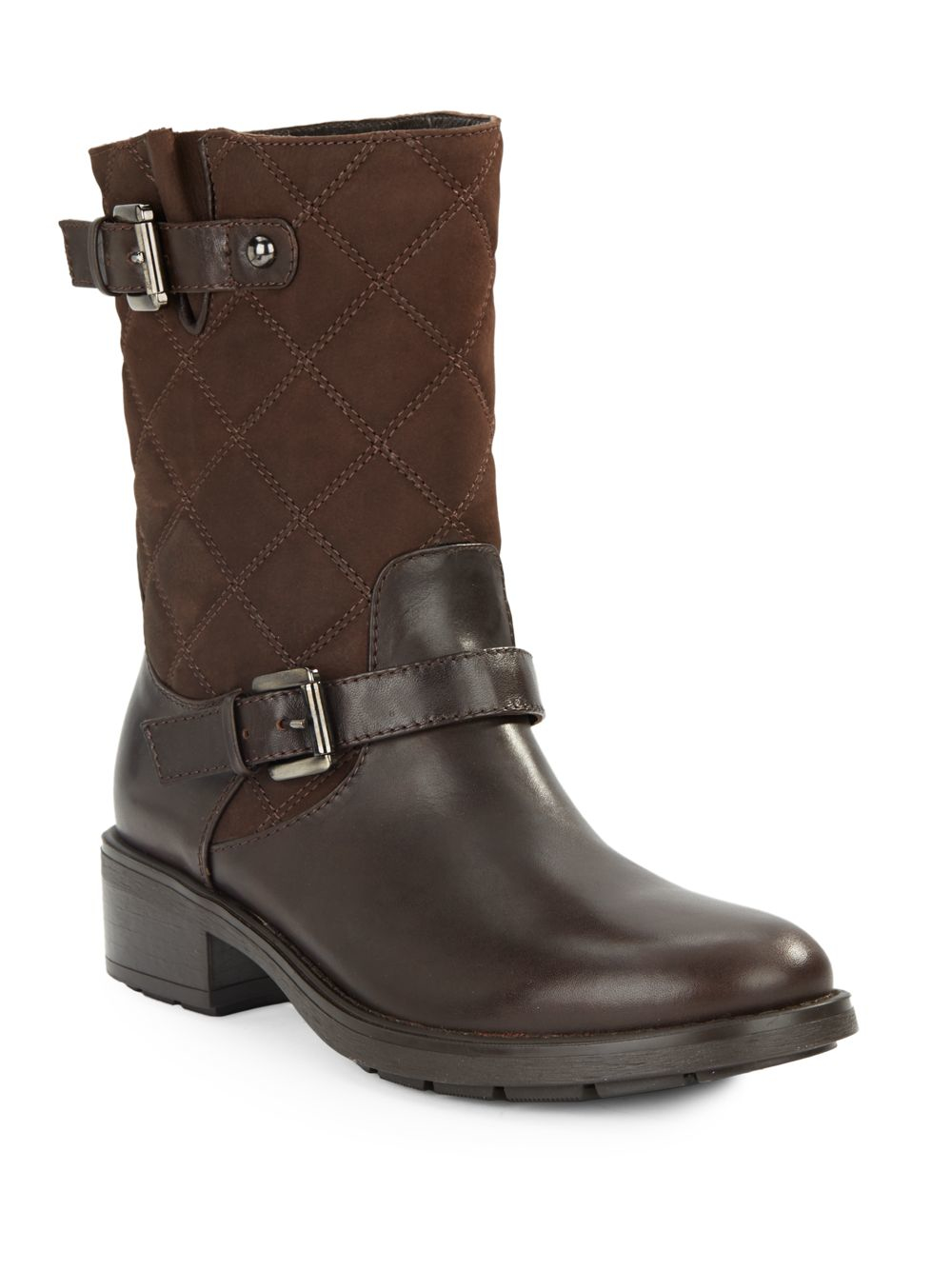 aquatalia sherry quilted suede leather boots in brown