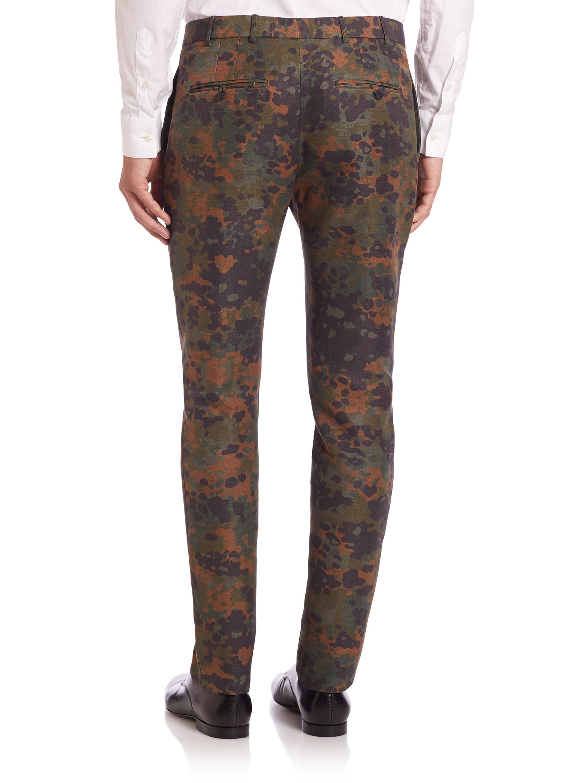Burberry Prorsum Camouflage Linen Amp Silk Pants In Green