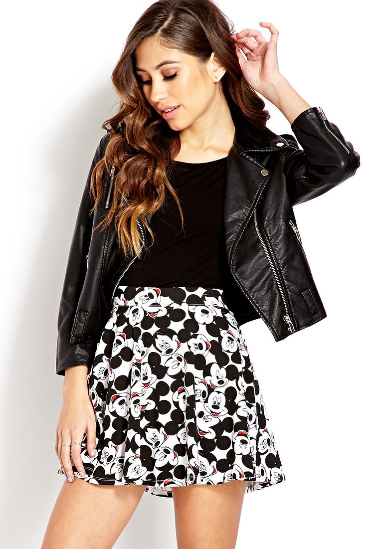 Forever 21 Hey Mickey Skater Skirt in Black | Lyst