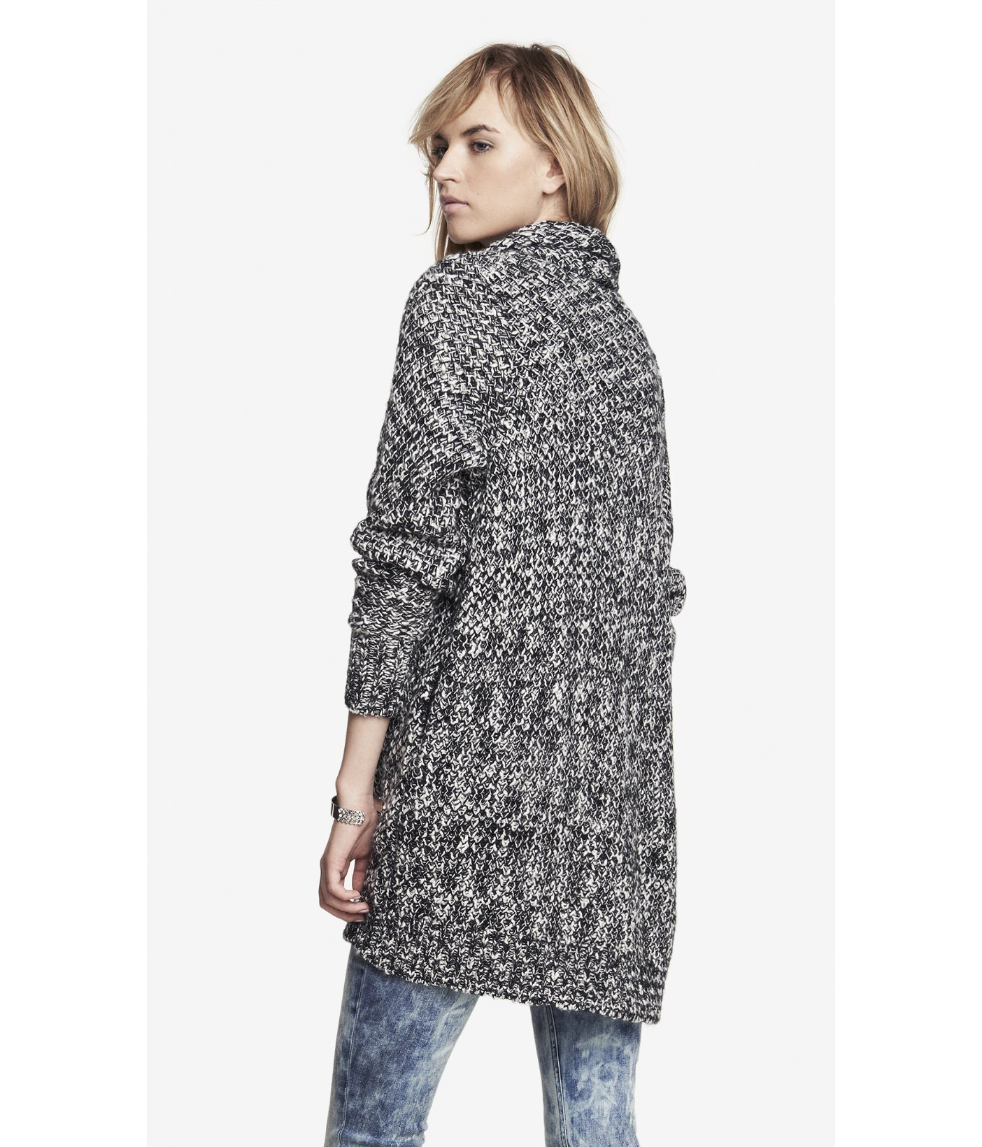 Express Wool Blend Marled Textured Sweater Coat in Black | Lyst
