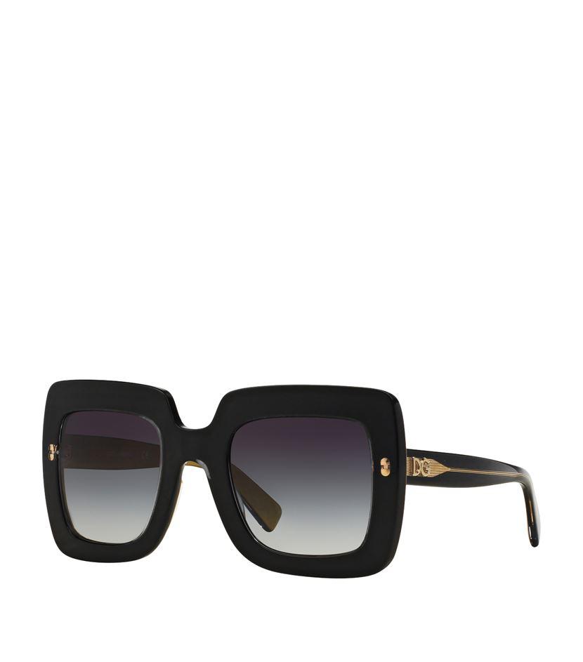 Dolce & Gabbana Thick Square Frame Logo Sunglasses in Black for Men ...