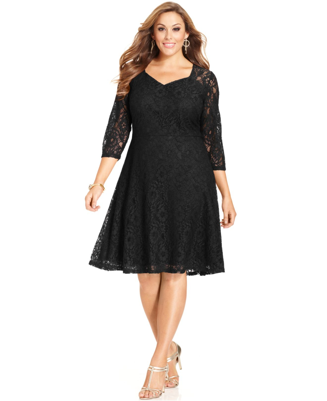 a line dress with sleeves plus size