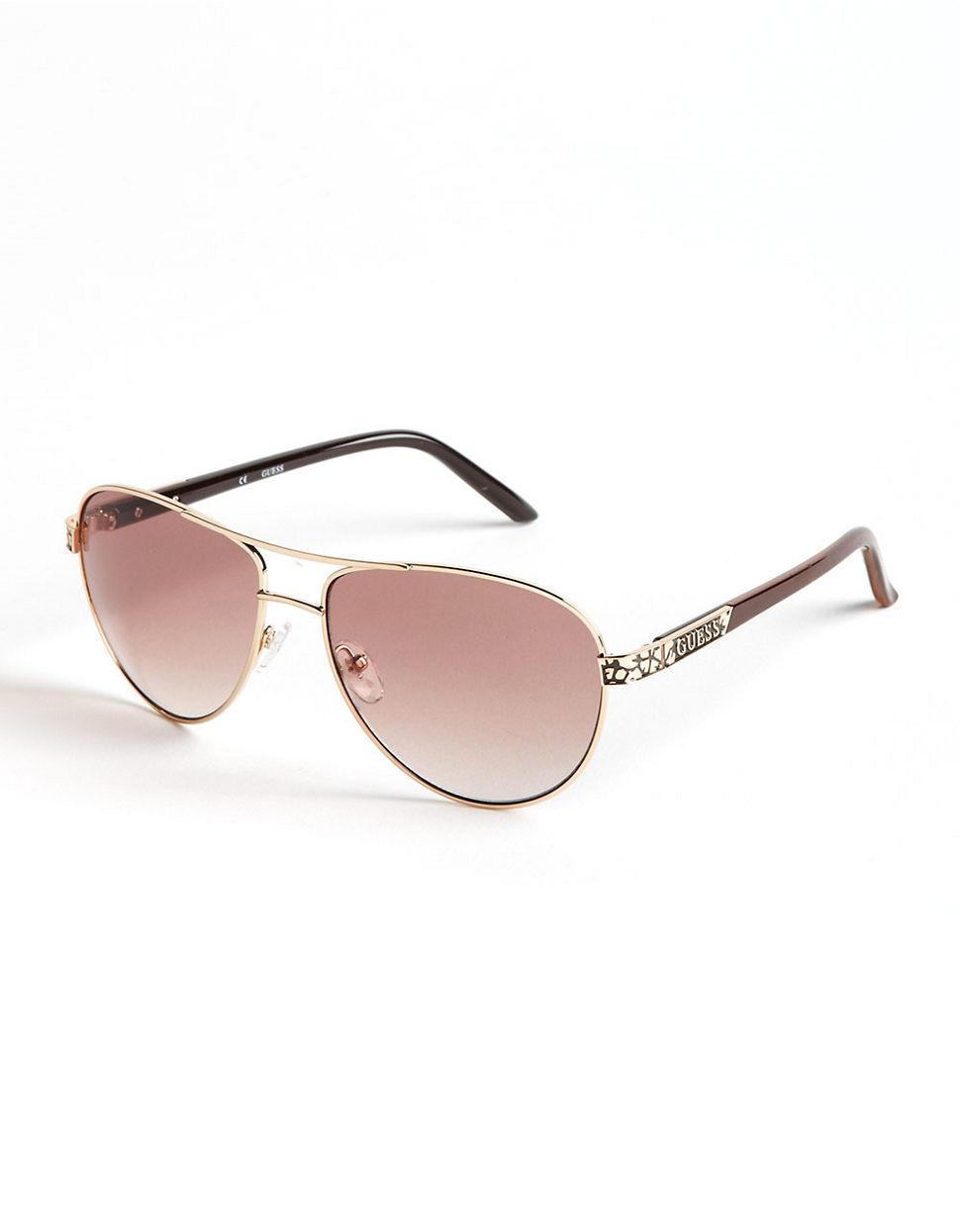 Guess Aviator Sunglasses in Metallic for Men - Lyst 53ea890129