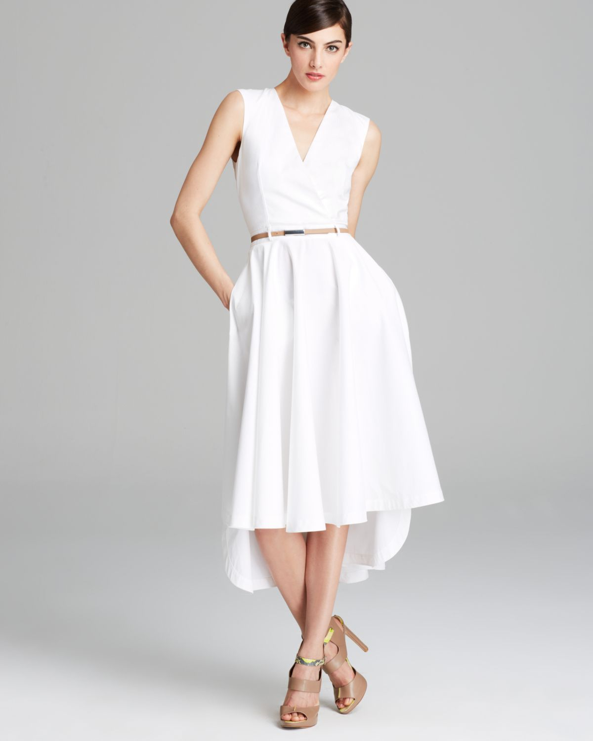 tea length sweater dresses robert rodriguez dress belted tea length shirt in white lyst 1314