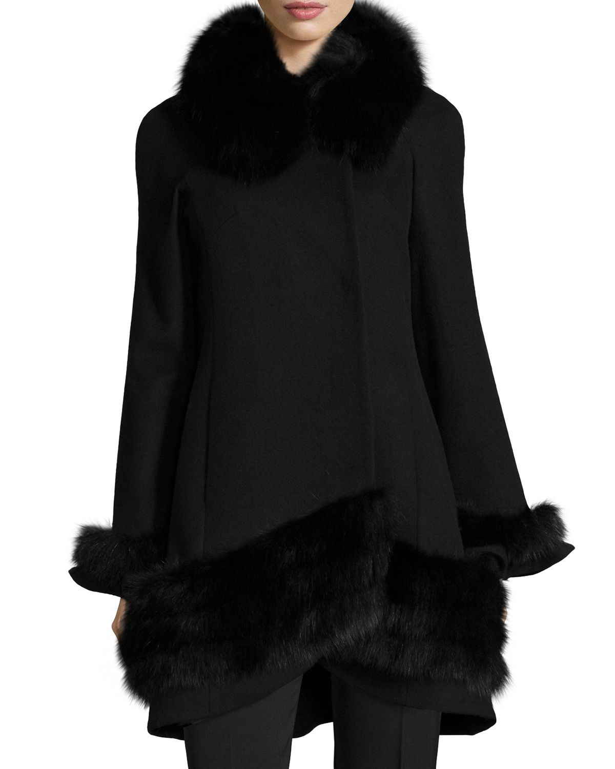 Fake Fur Trimmed On Cuffs Of Sweaters: Belle Fare Cashmere Swing Coat With Fur Cuffs