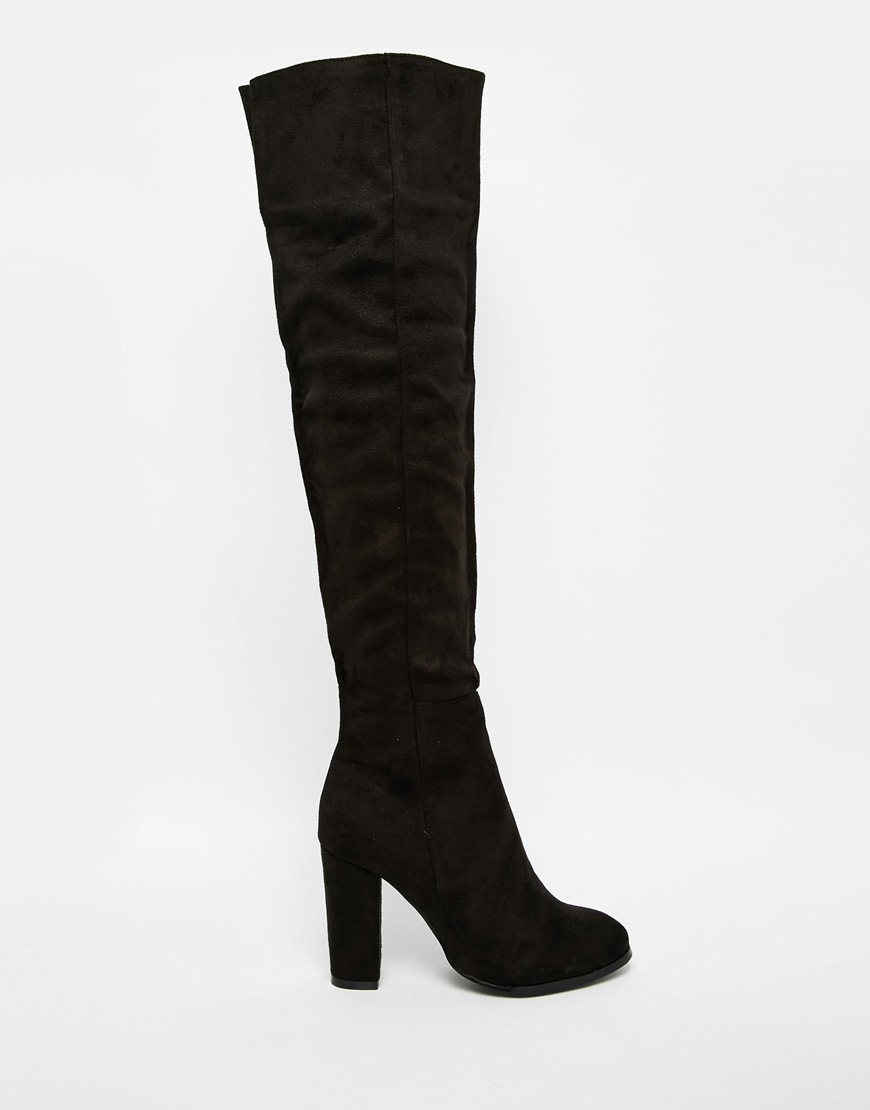 c691ea6a4a9 Lyst - Daisy Street Black Block Heel Over The Knee Boots in Black