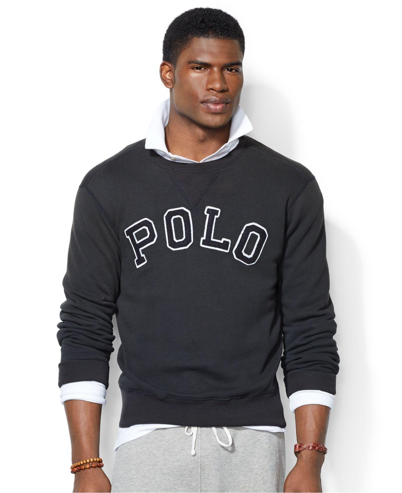 3209bc5fe ... discount code for lyst polo ralph lauren fleece crew neck sweatshirt in  black for men ec2b4