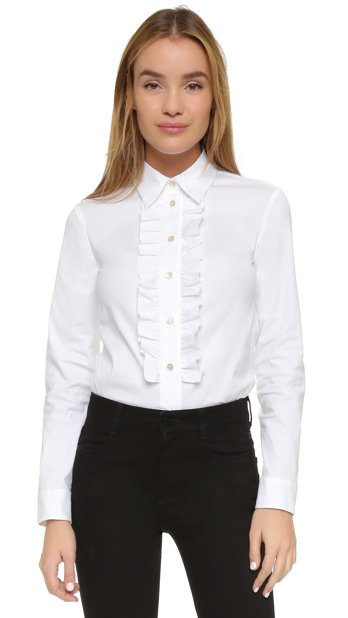 Womens White Ruffle Blouse 65