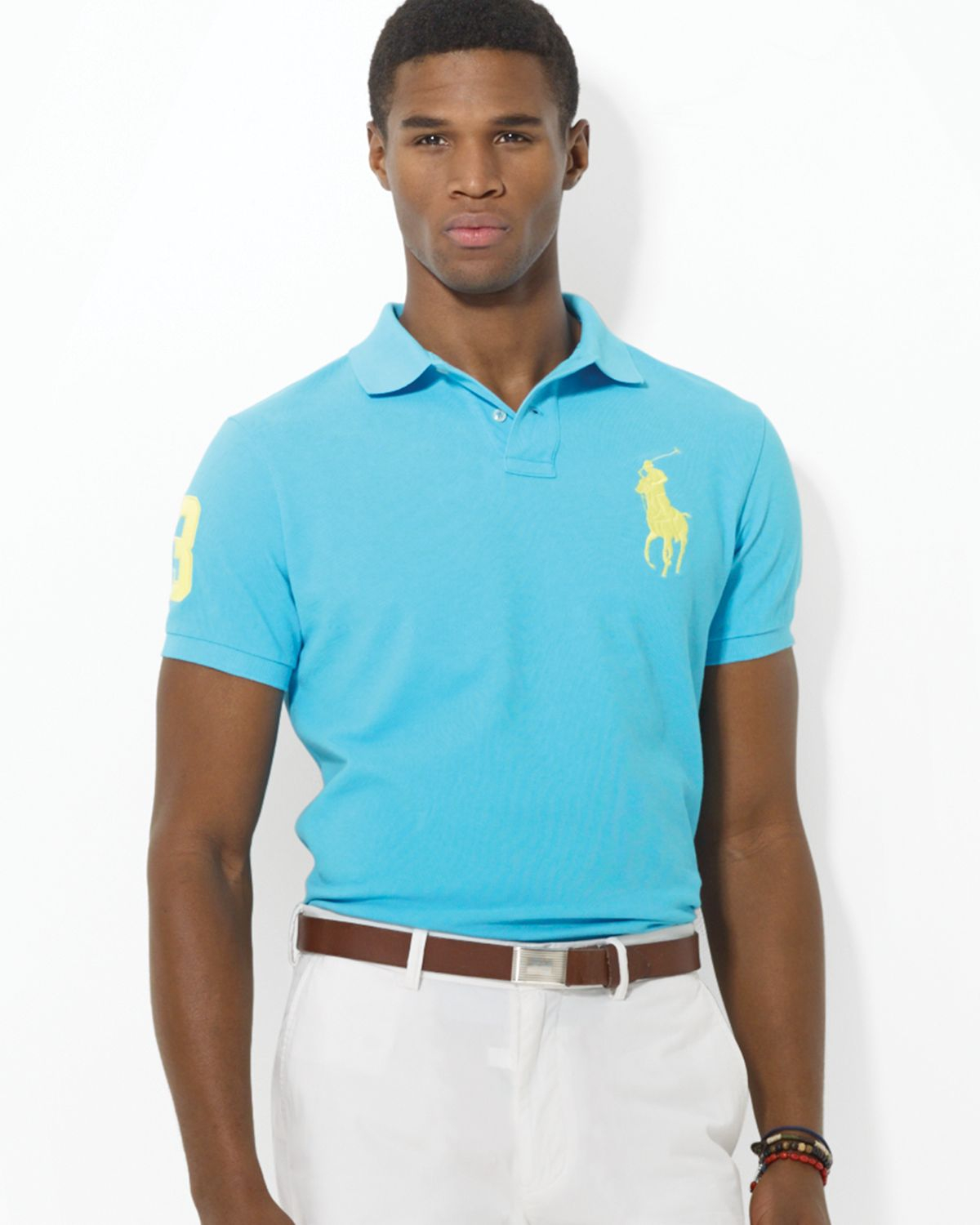 Polo ralph lauren custom big pony mesh polo shirt slim for Ralph lauren custom fit mesh polo shirt