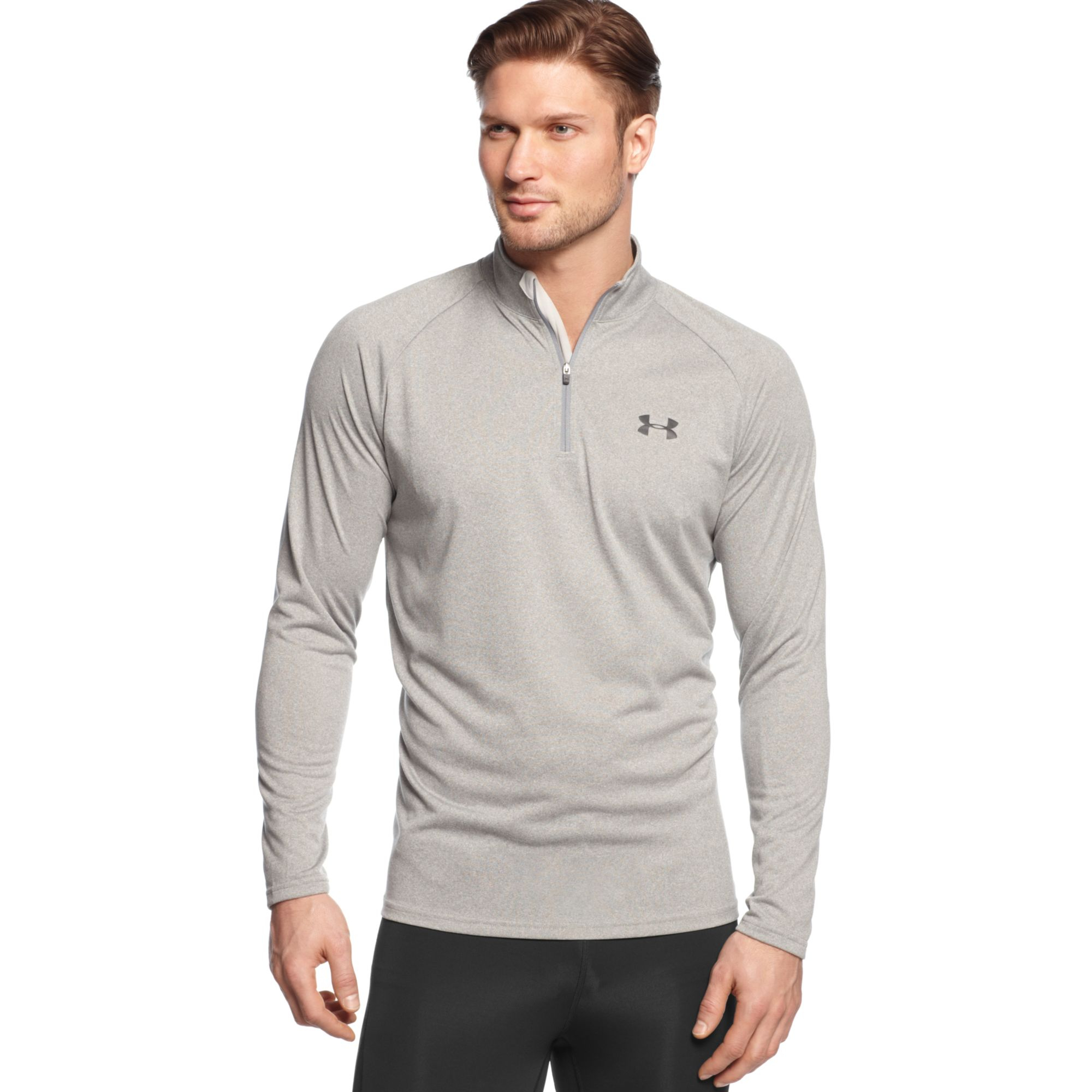 Lyst - Under Armour Long Sleeve Quarterzip Pullover in Gray for Men 39ce94e27aa4