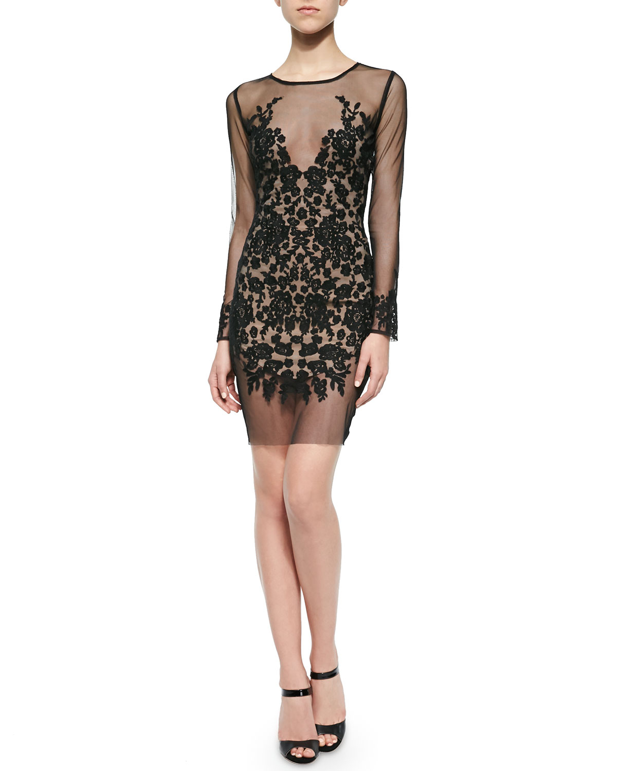 For Love Amp Lemons Luau Lace Embroidered Mesh Mini Dress In