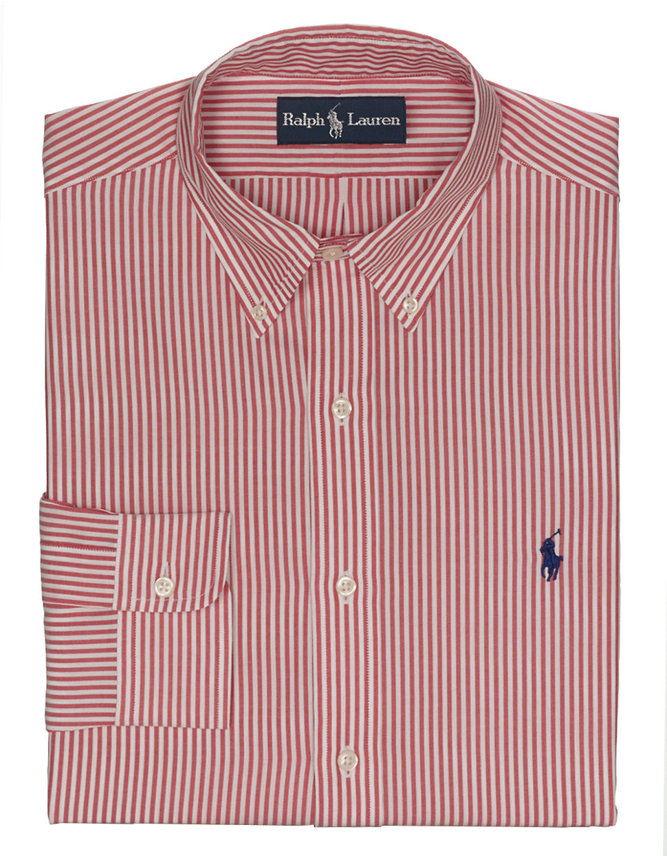 Polo ralph lauren regular fit striped oxford button down for Mens red and white striped dress shirt