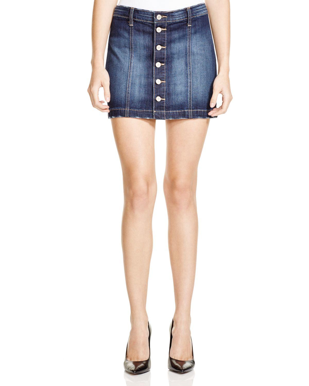 flying monkey button front denim mini skirt in blue lyst