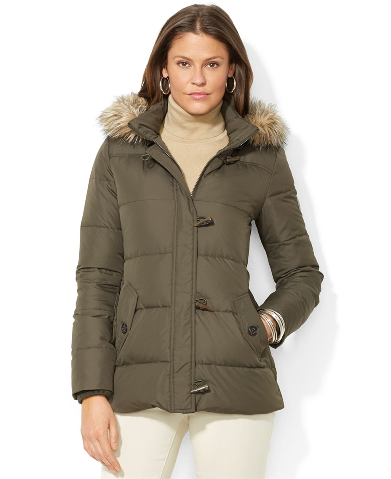 01094ab22bb4 Lyst - Lauren by Ralph Lauren Faux-Fur-Trim Hooded Toggle-Front Down ...