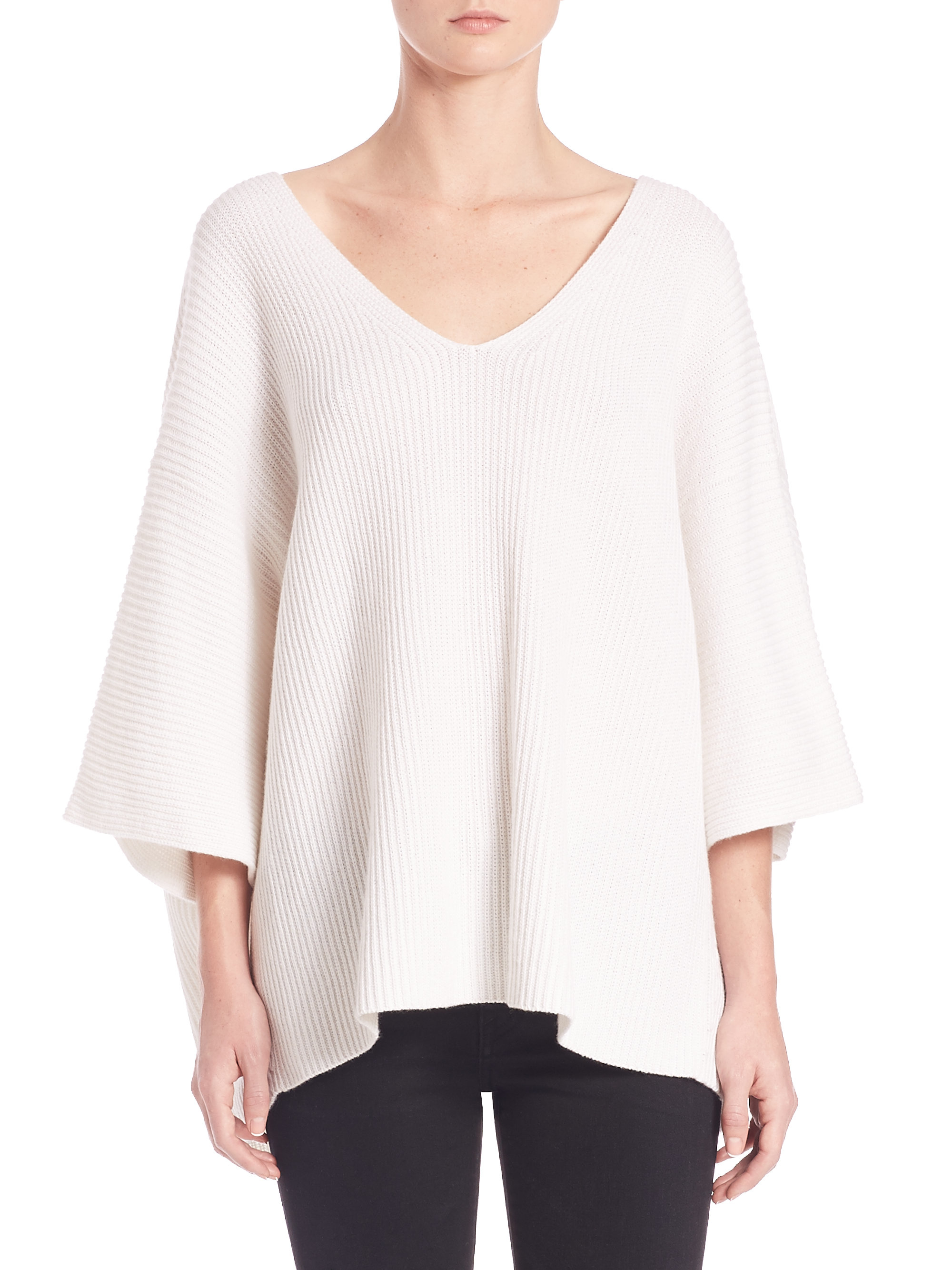 Helmut lang Cotton & Cashmere Dolman Sweater in White | Lyst