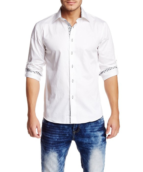 T.r. premium White Long Sleeve Roll Up Button Down Dress Shirt in ...