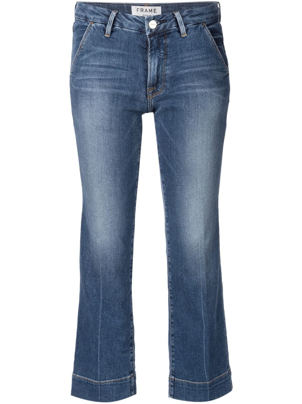 Lyst - FRAME Cropped Jeans in Blue
