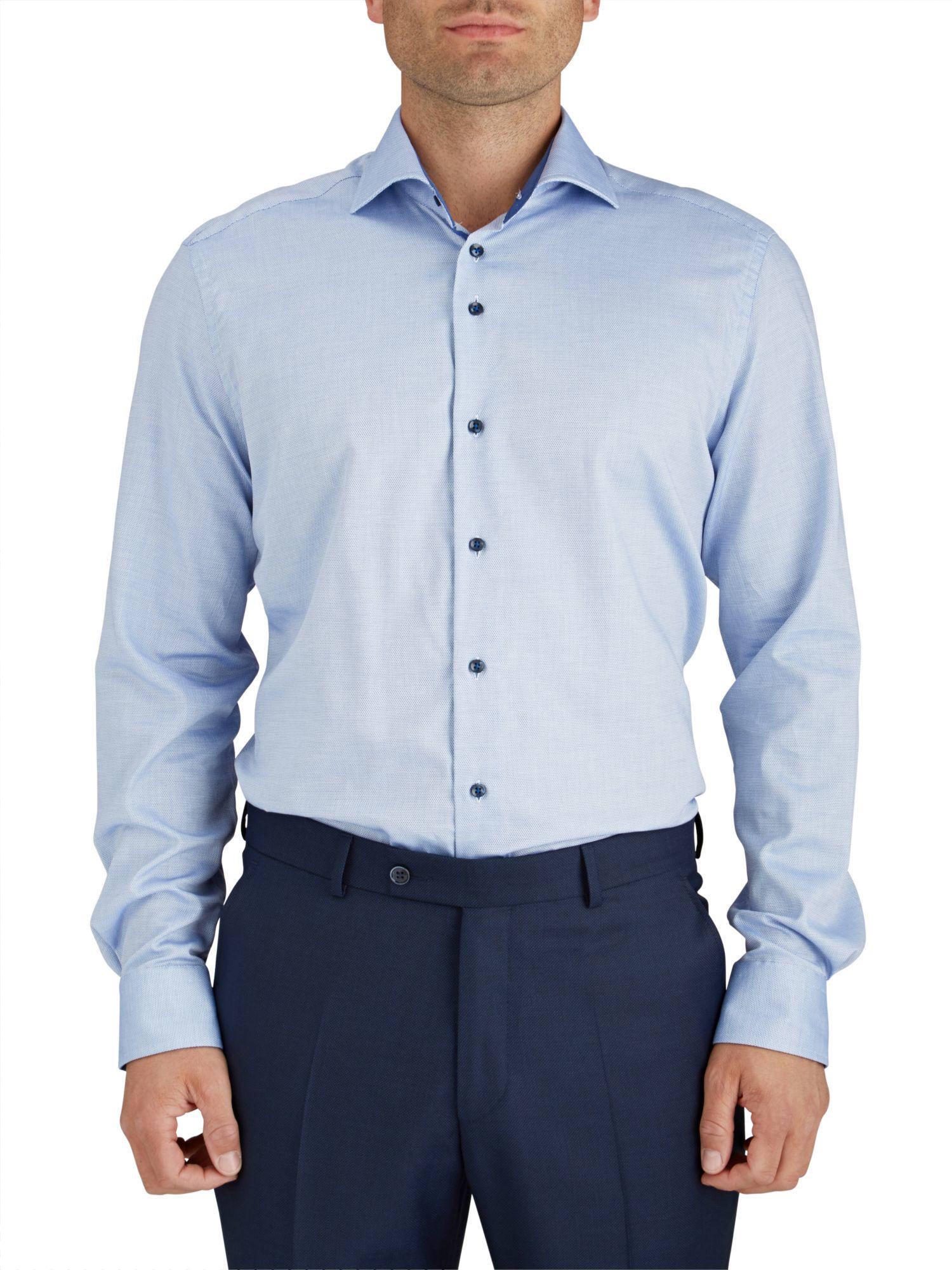 B umler blue circles print single cuff shirt in blue for for Single cuff dress shirt