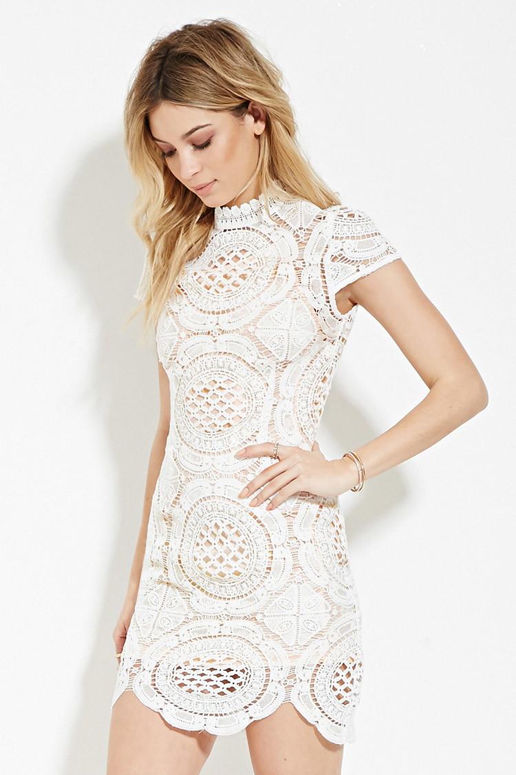 Forever 21 Crochet High-neck Dress in White | Lyst