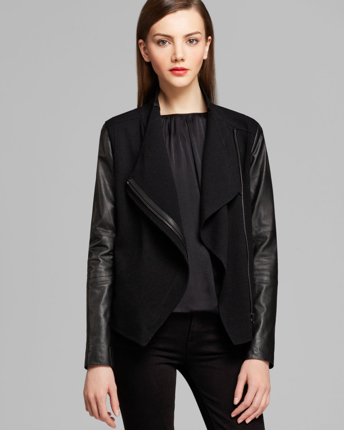 many styles big selection select for latest Vince Jacket Leather Sleeve Asymmetric in Black - Lyst