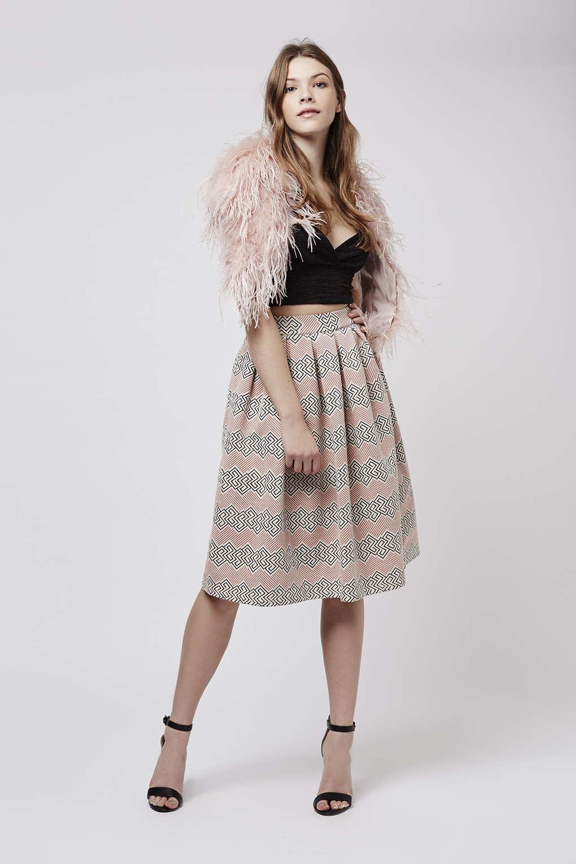 topshop petite jacquard midi skirt in natural lyst. Black Bedroom Furniture Sets. Home Design Ideas
