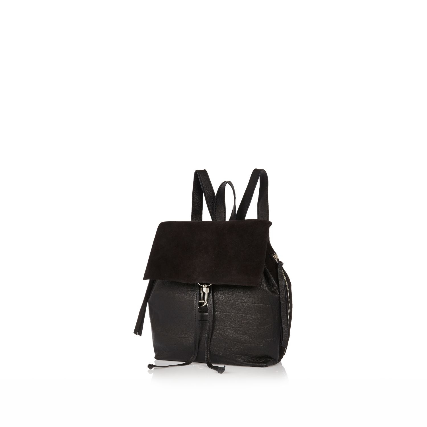 River island Black Plain Leather Dog Clip Backpack in Black | Lyst