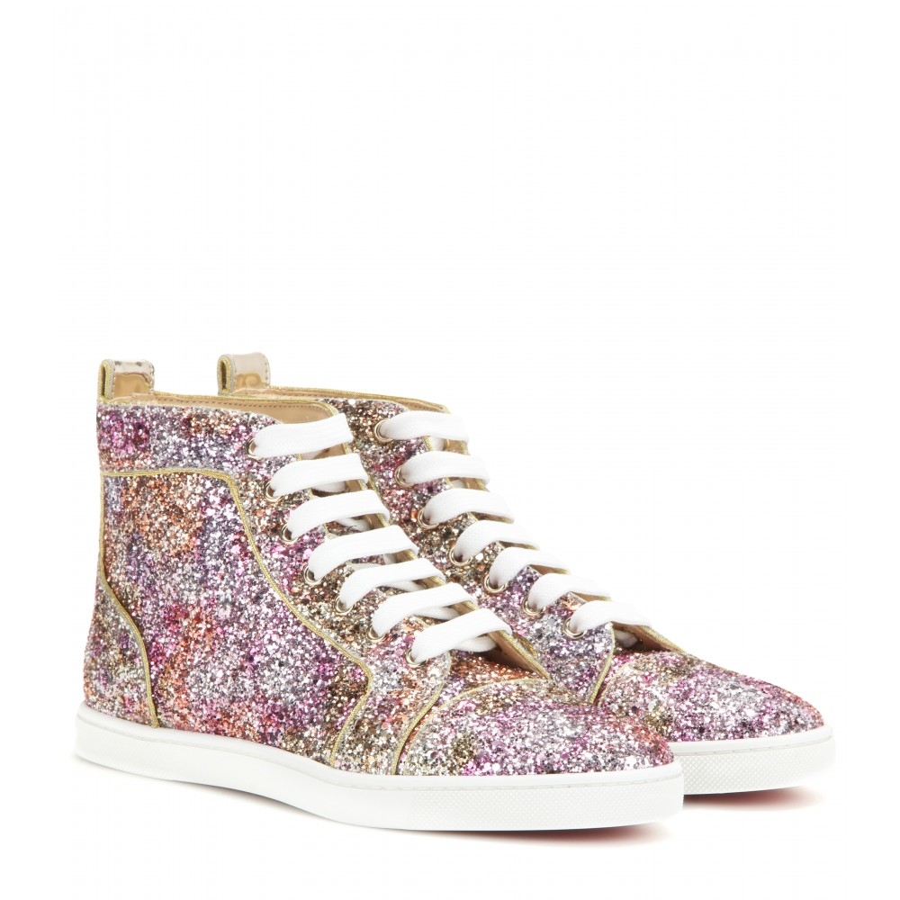 louboutin replica men shoes - Christian louboutin Bip Bip Glitter High-top Sneakers in ...