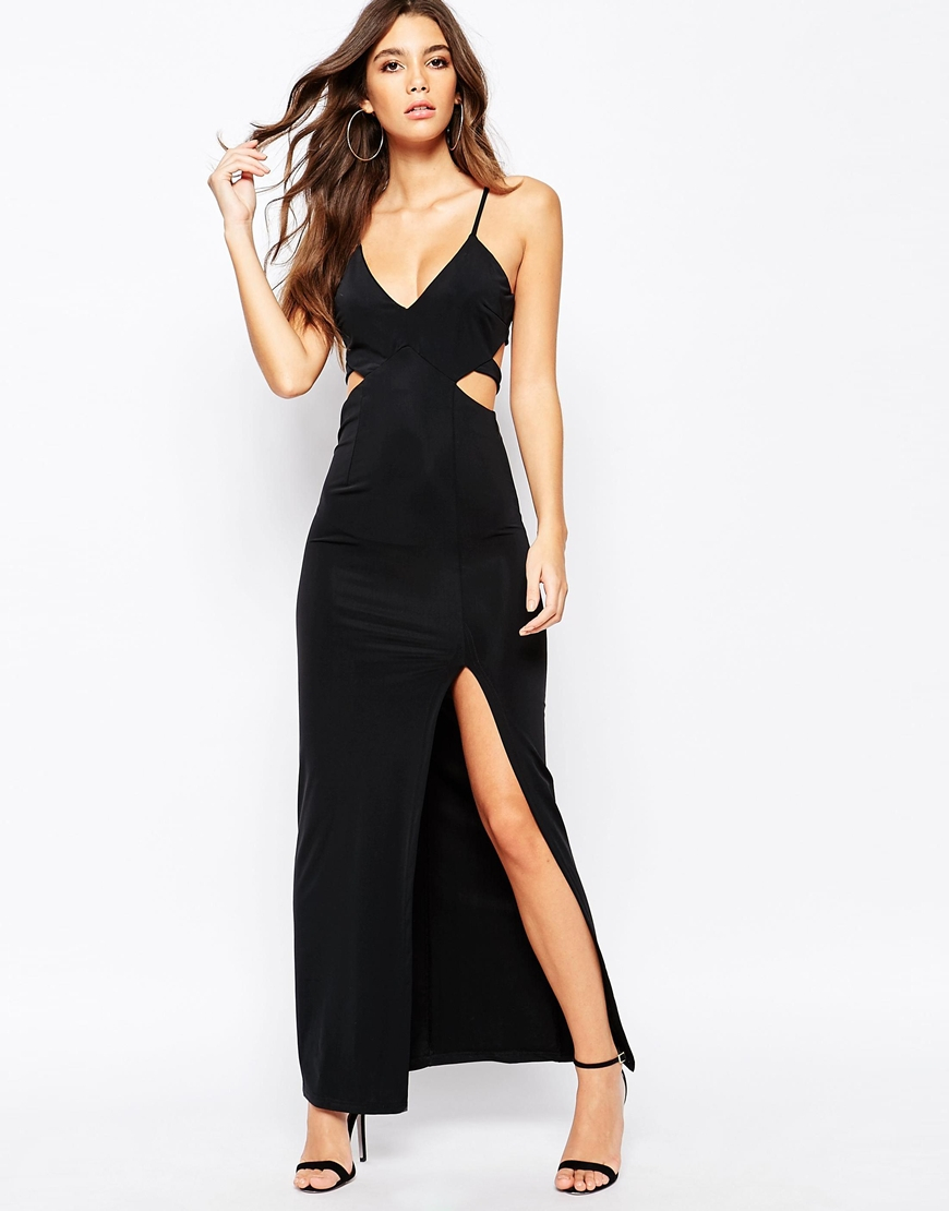Naanaa Plunge Cut Out Maxi Dress With Thigh Split in Black ...