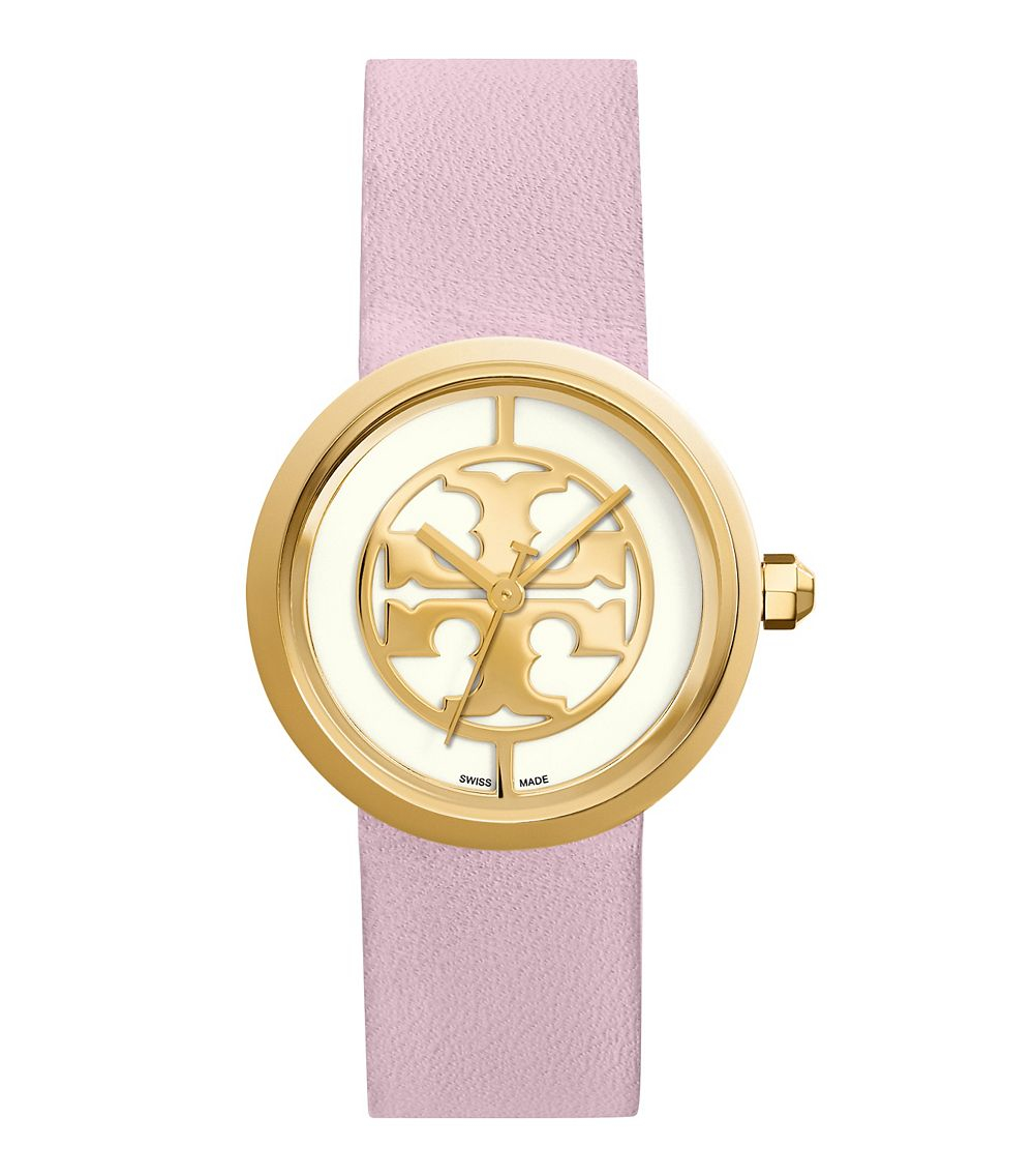 1c37b502ca5f Lyst - Tory Burch Reva 36mm Ivory Dial Light Pink Strap in Purple