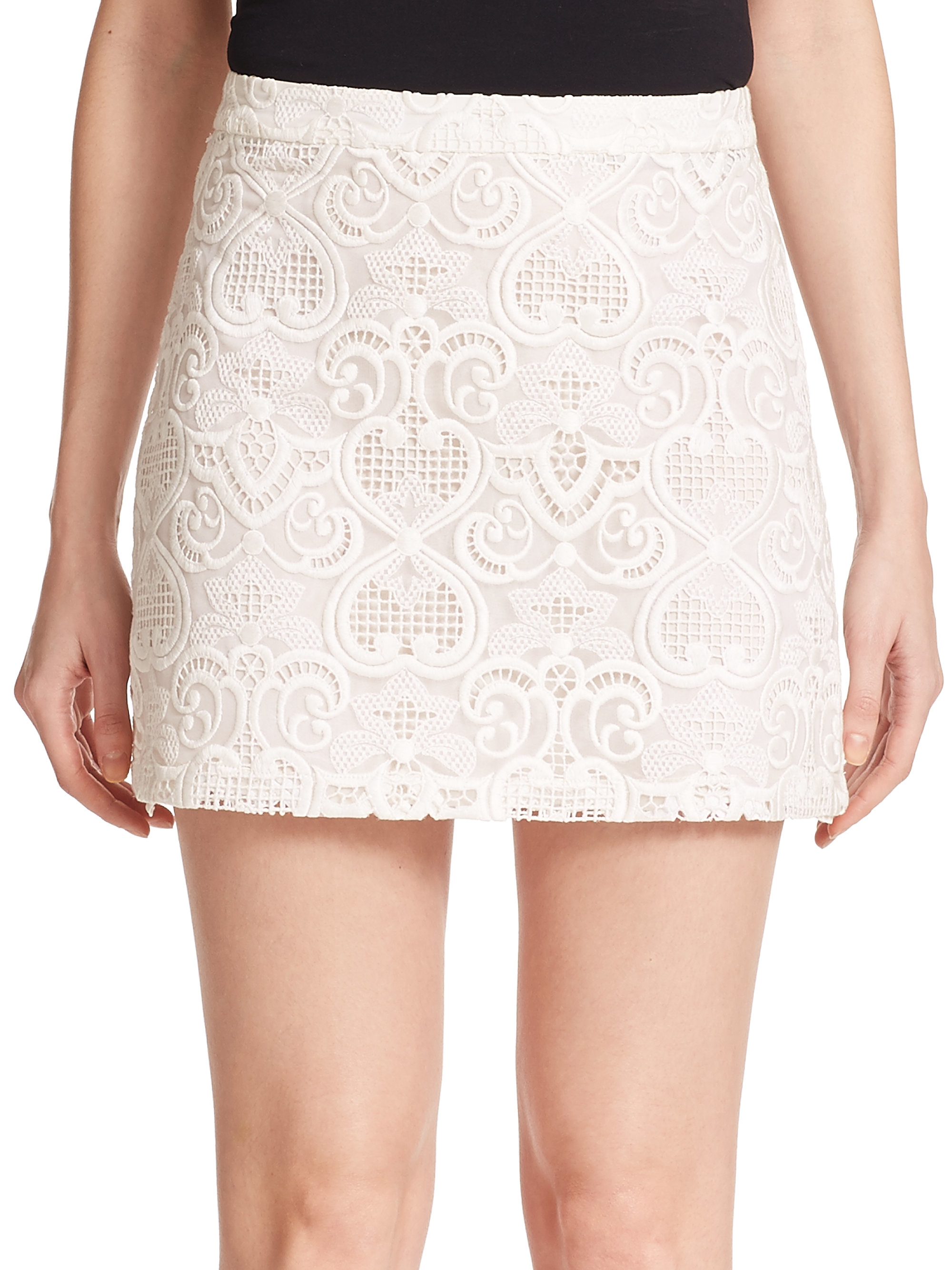 Lyst A L C Merill Silk Lace Mini Skirt In White