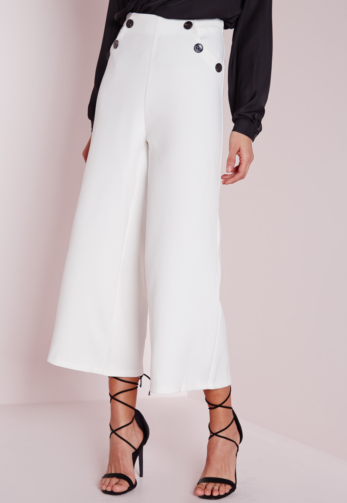 Lyst Missguided Button Detail Wide Leg Cropped Trousers White In White