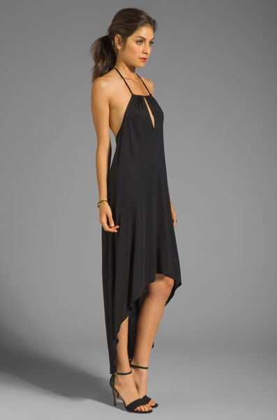 Haute Hippie High Low Halter Neck Dress In Black In Black