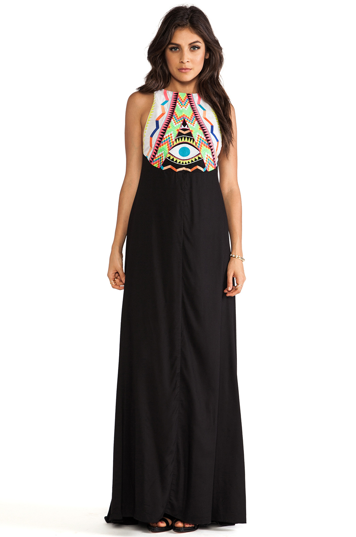Mara hoffman embroidered maxi dress in black lyst