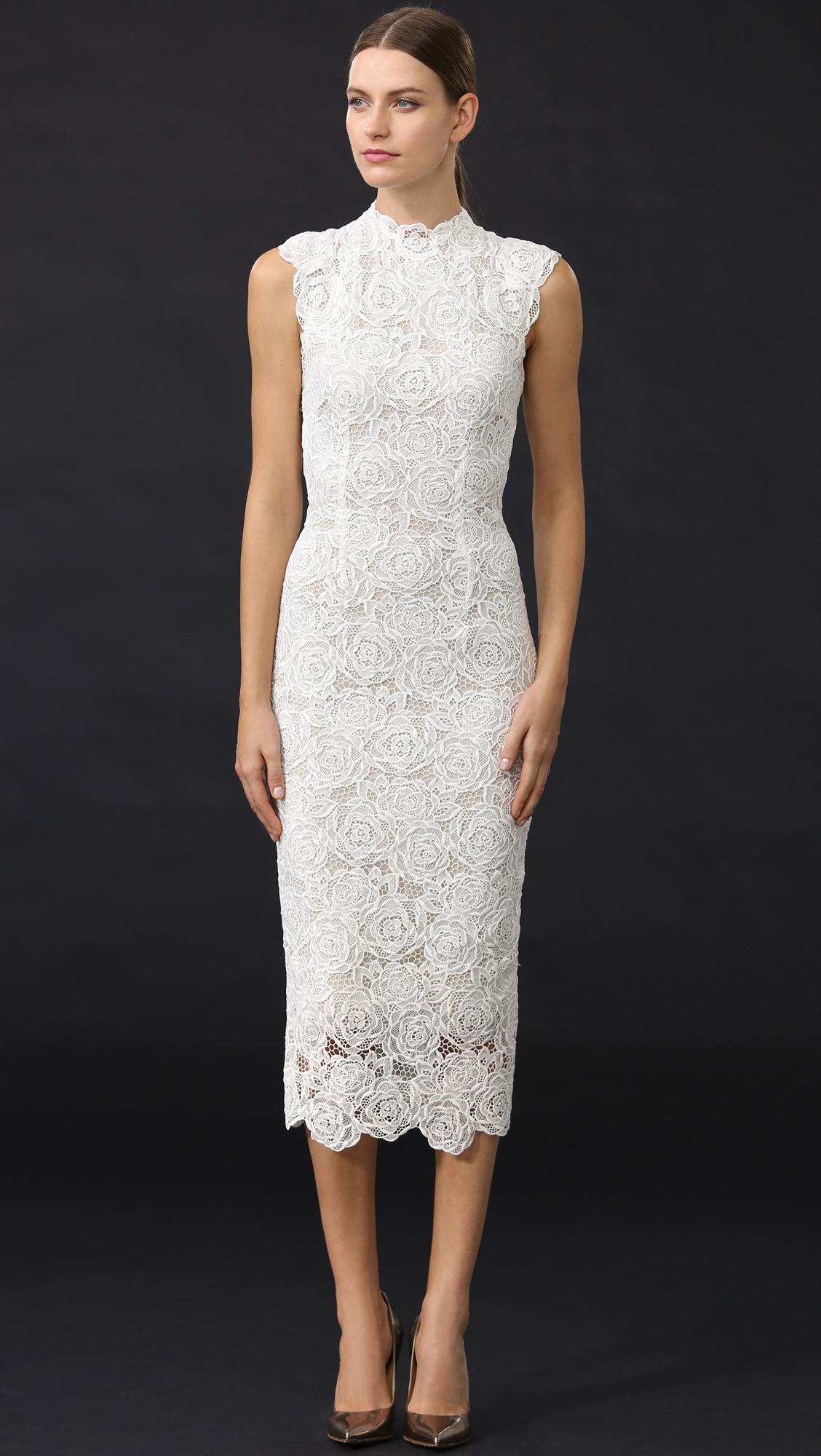 Monique Lhuillier High Neck Dress In White Lyst