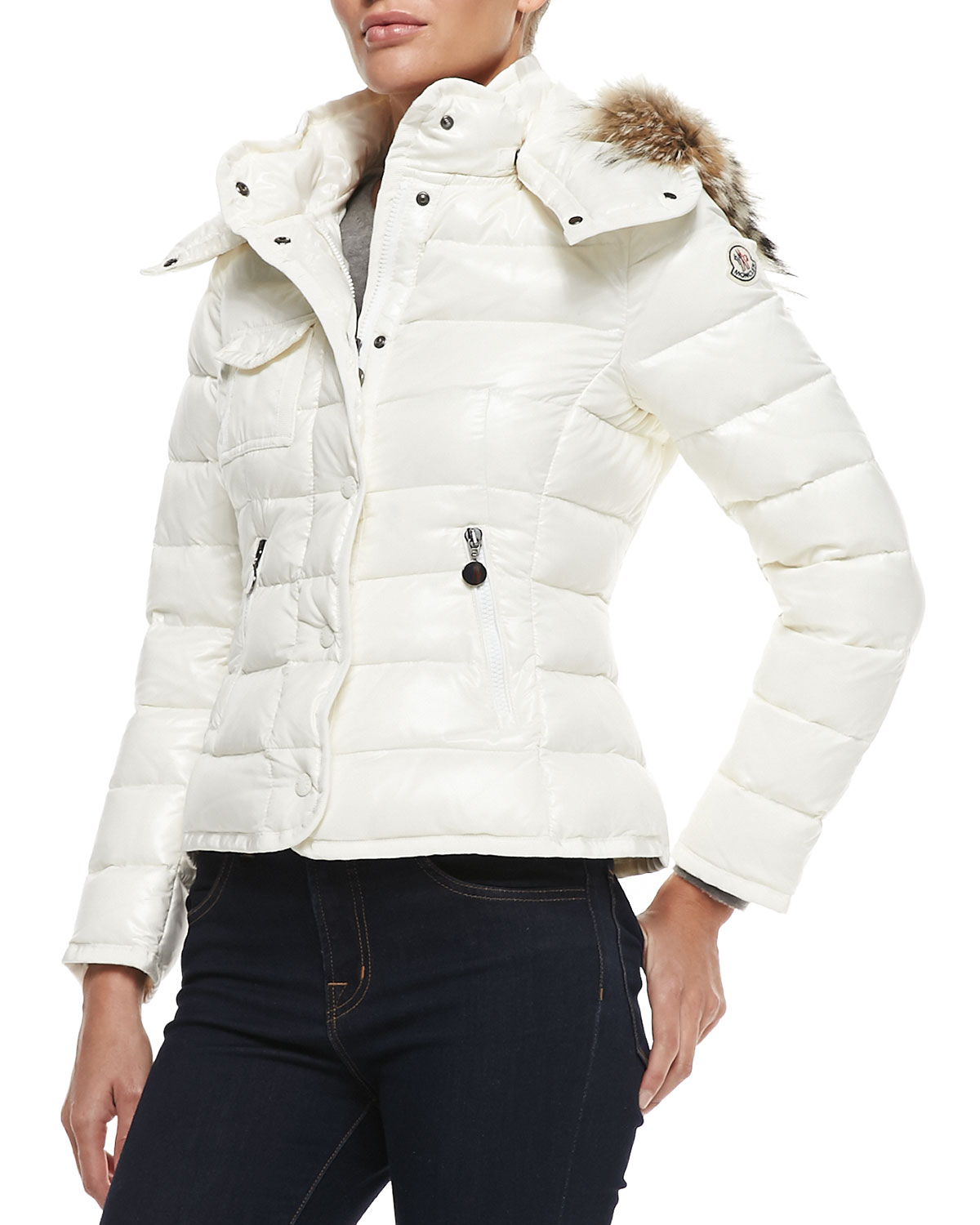 Moncler Puffer Jacket With Fur-Trim Hood in White | Lyst