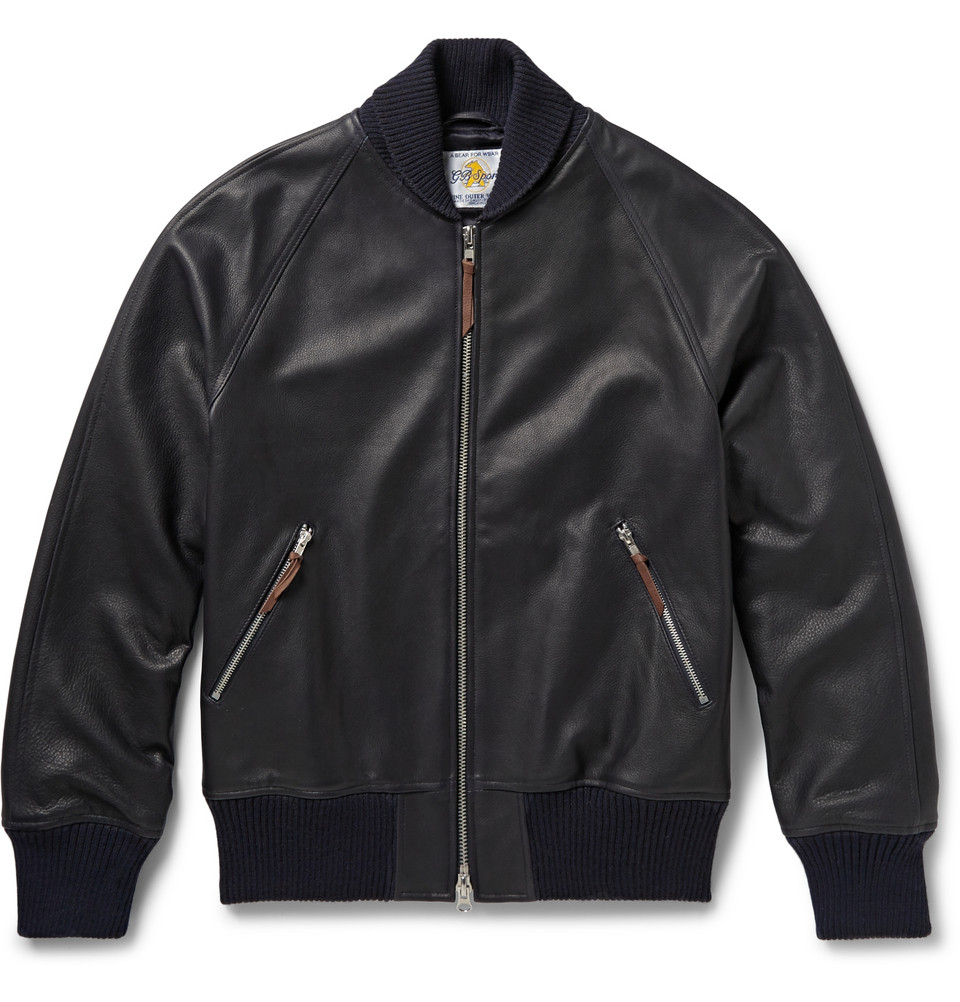 Lyst Club Monaco Full Grain Leather Bomber Jacket In