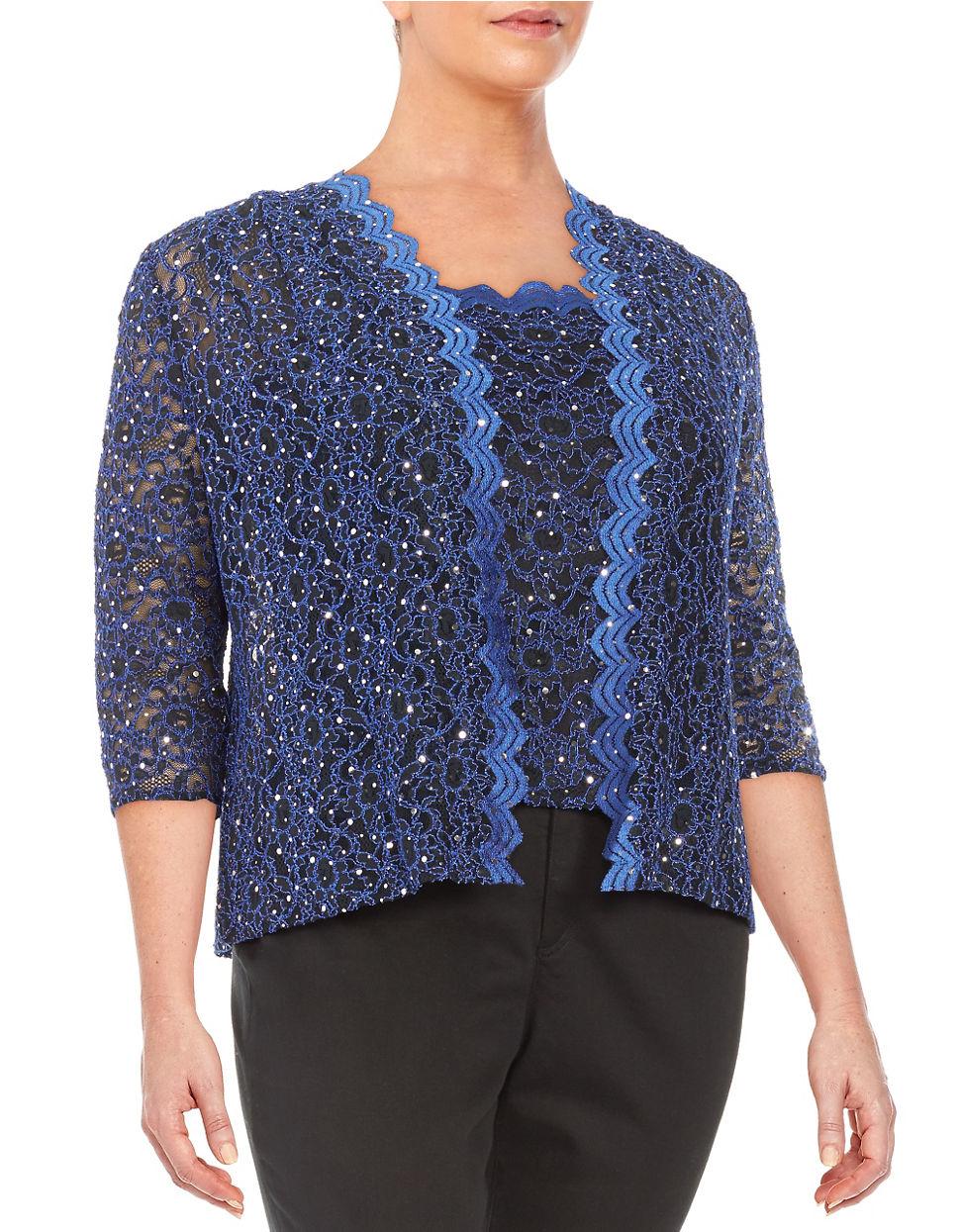 Alex evenings Plus Sequin Cardigan Set in Blue | Lyst
