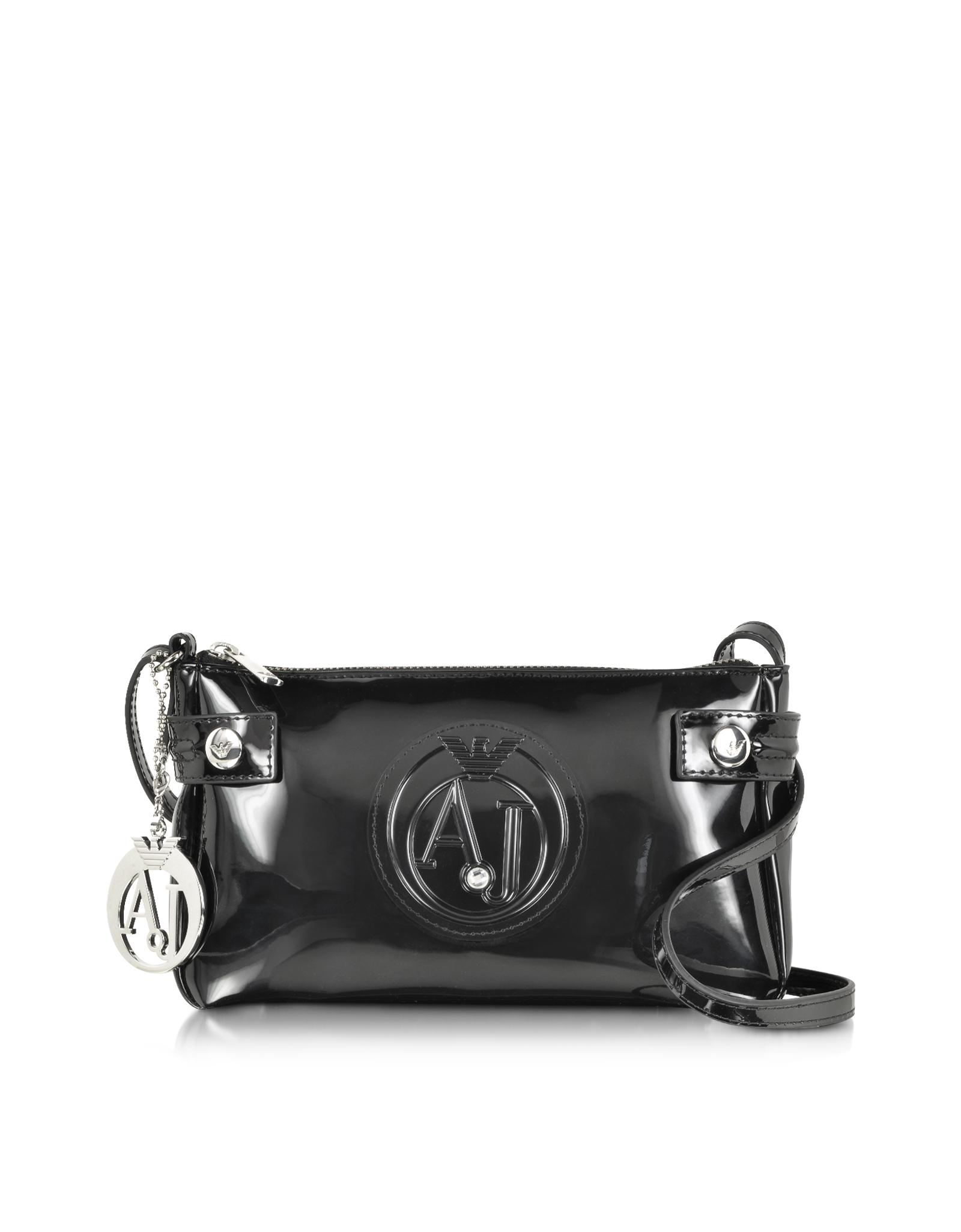 caa7def7d31 Lyst - Armani Jeans Patent Faux Leather Baguette Crossbody in Black