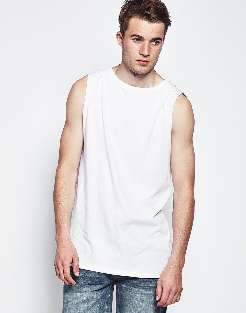 The idle man Sleeveless Long Line Tank Top White in White for Men ...