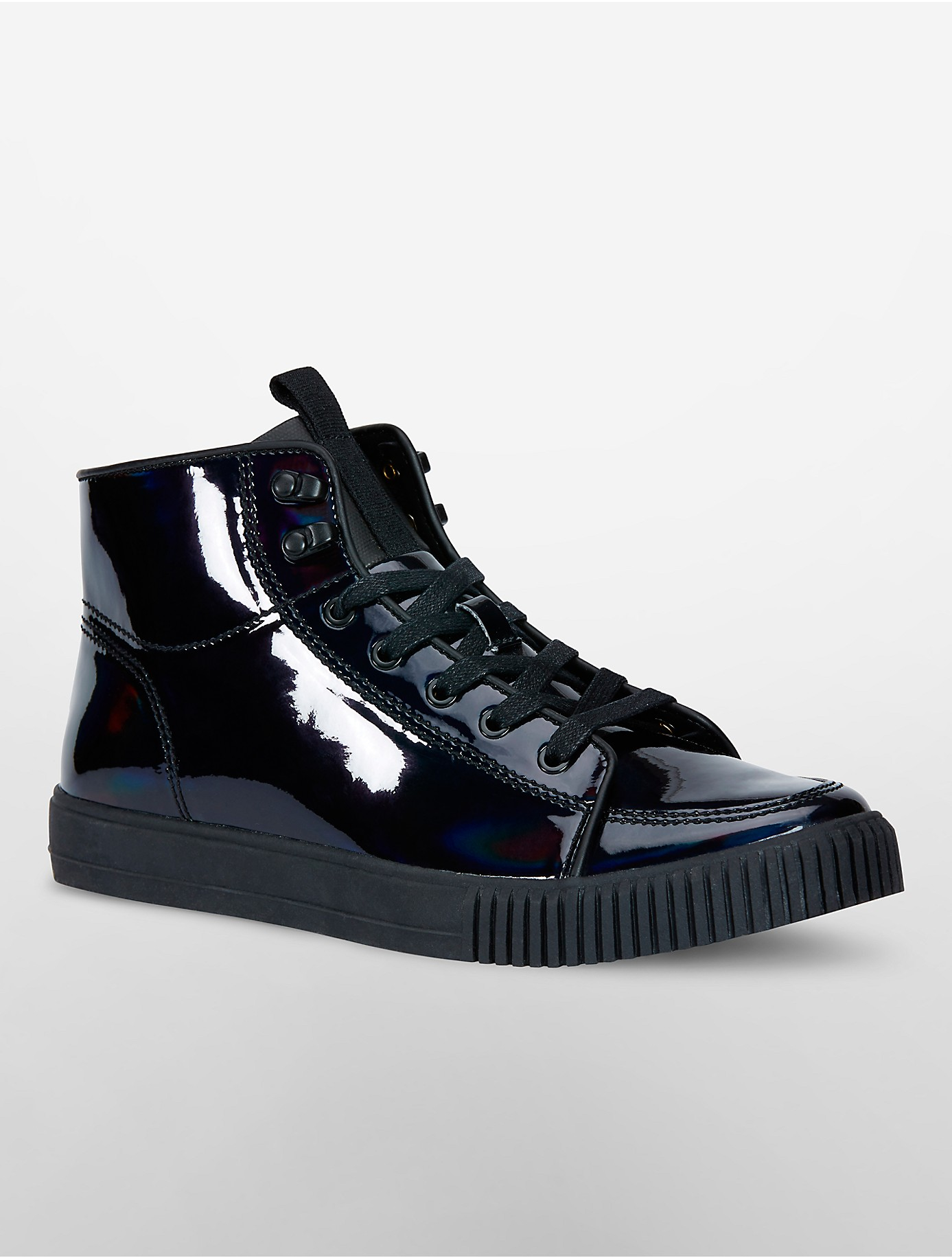 calvin klein jeans jenson iridescent canvas high top sneakers in black lyst. Black Bedroom Furniture Sets. Home Design Ideas
