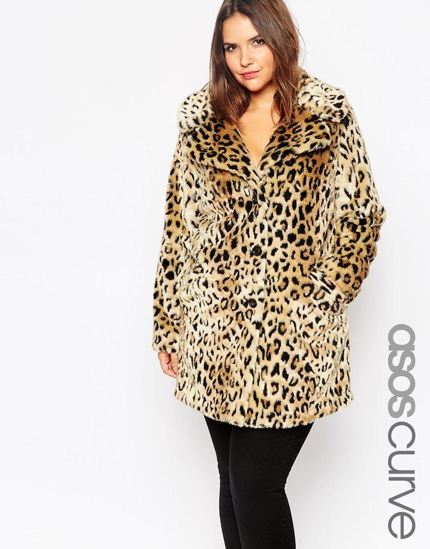 Asos Faux Fur Coat In Leopard Print Lyst