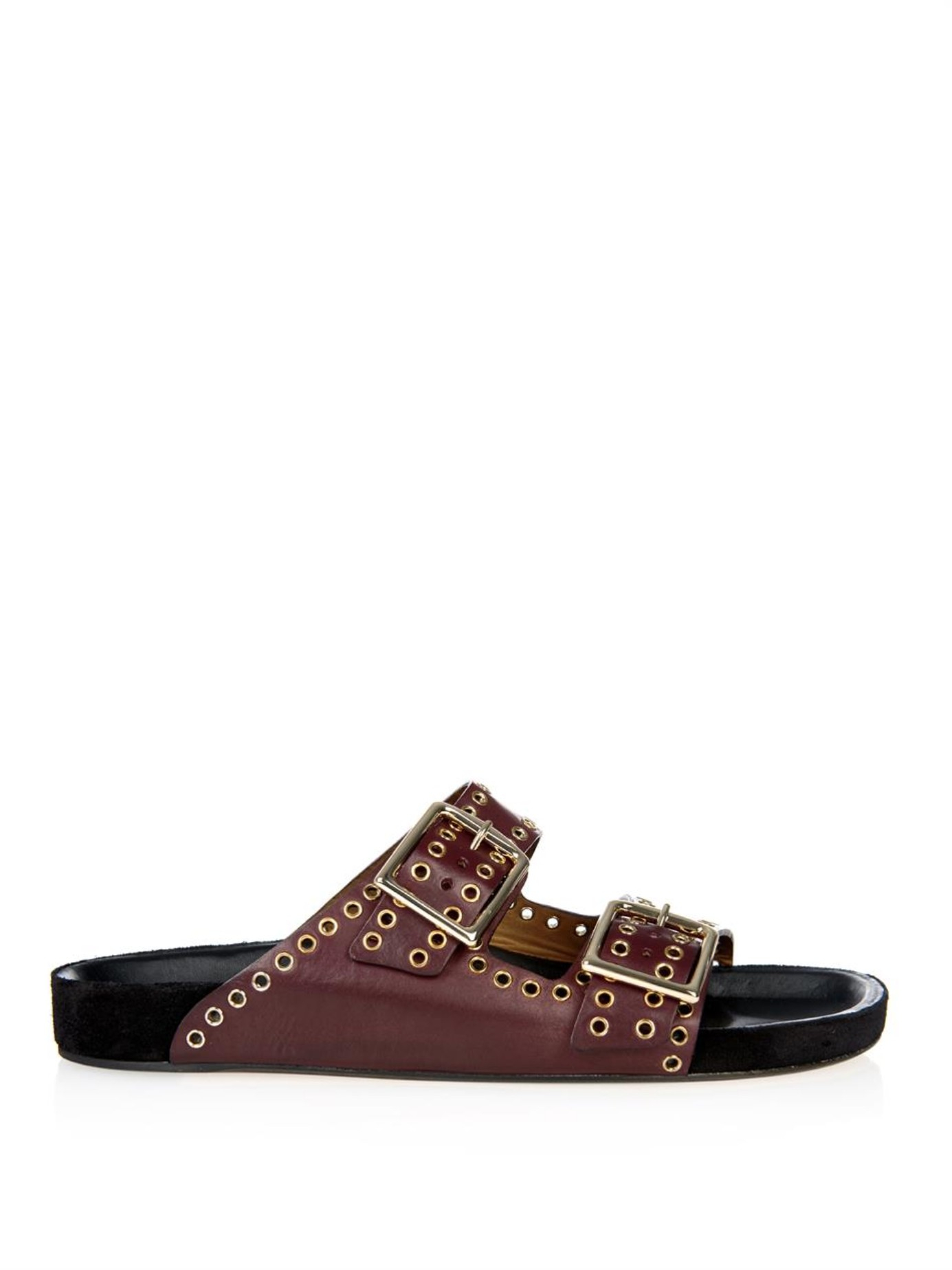 Isabel Marant Lenny Buckle Leather Sandals In Purple Lyst