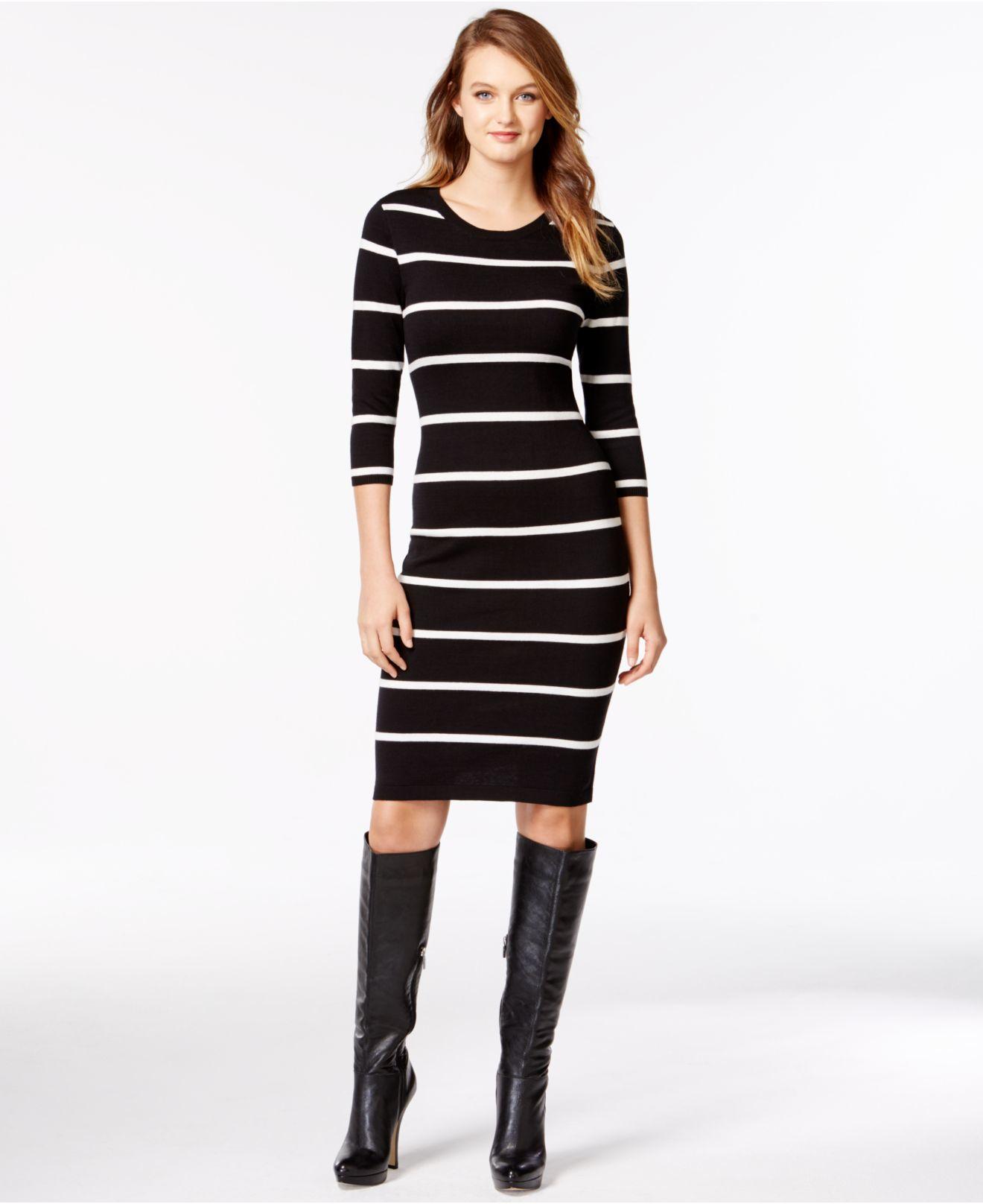 429d781ede4f Lyst - Kensie Striped Bodycon Sweater Dress in Black