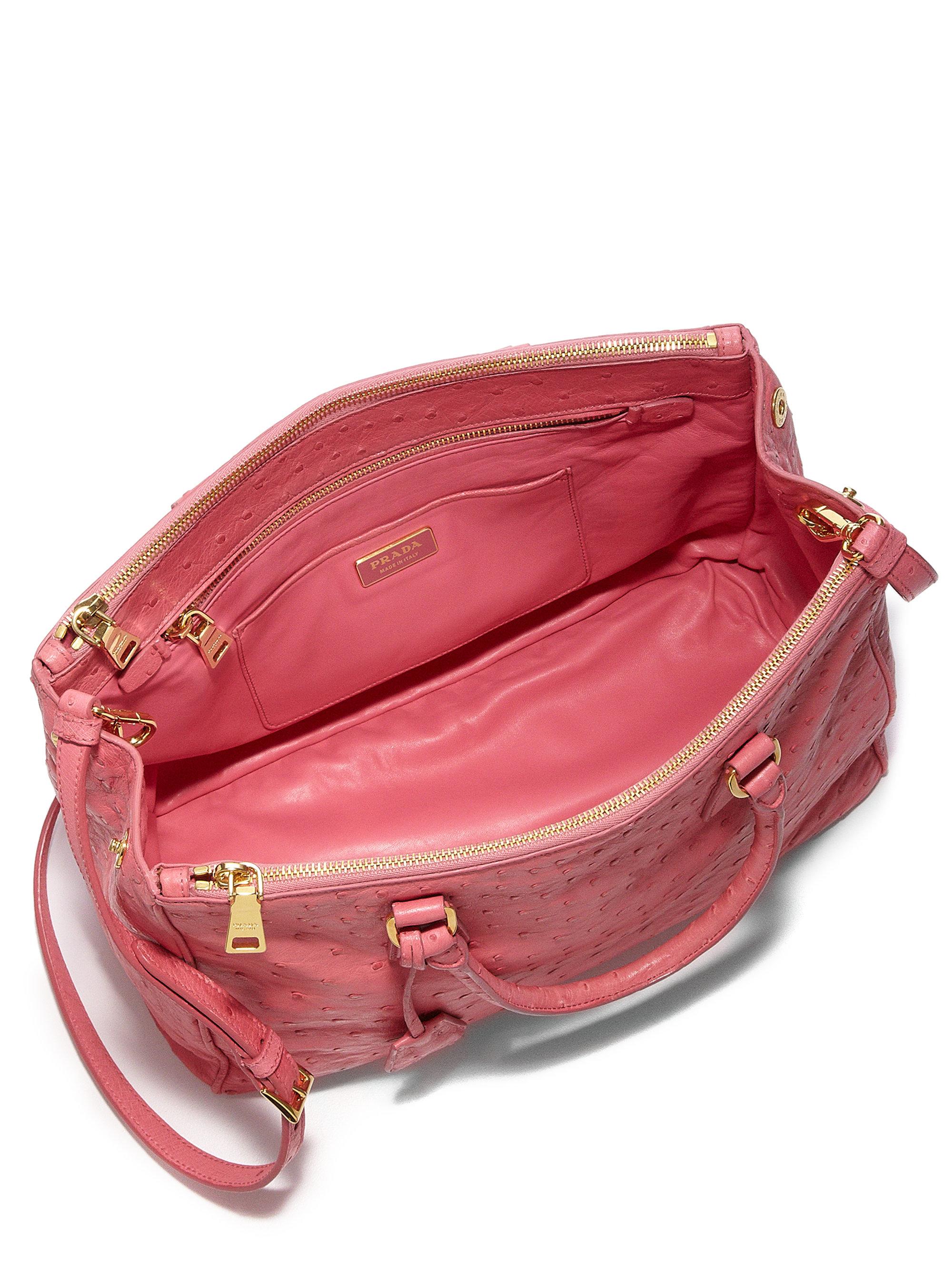 0c130daf85fa57 Prada Ostrich Double-zip Tote in Pink - Lyst