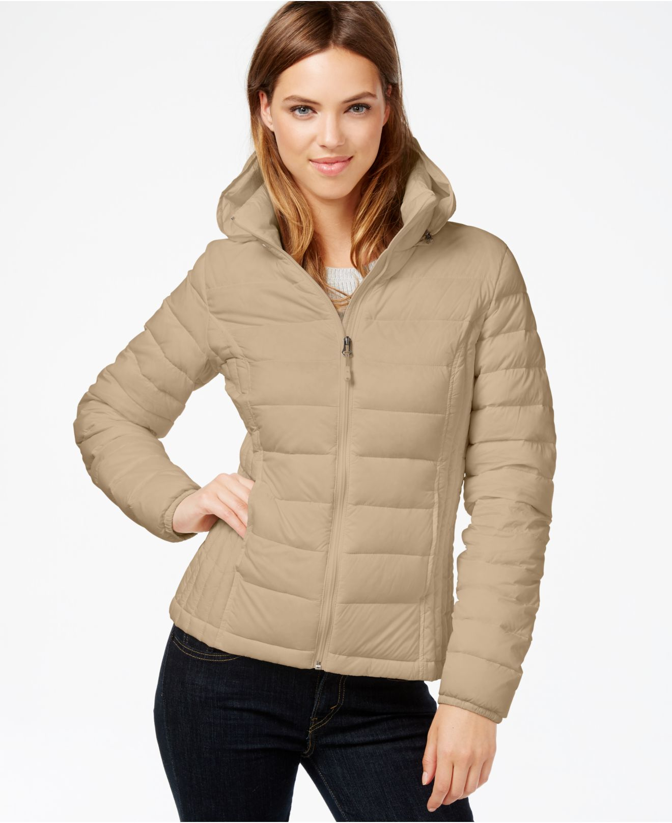 32 Degrees Hooded Packable Down Puffer Jacket In Natural