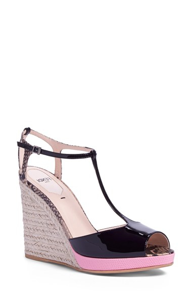 5947562178c9c Lyst - Fendi  elodie  T-strap Wedge Sandal in Black