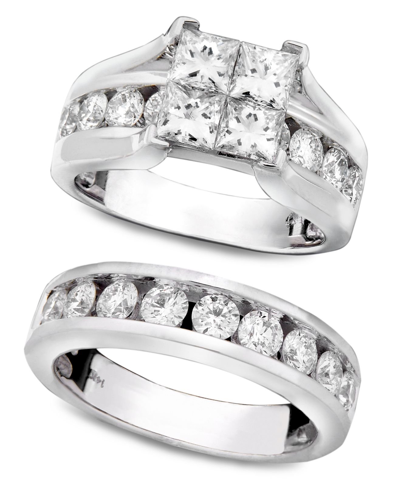 Lyst Macy S Engagement Ring And Wedding Band 14k White Gold And
