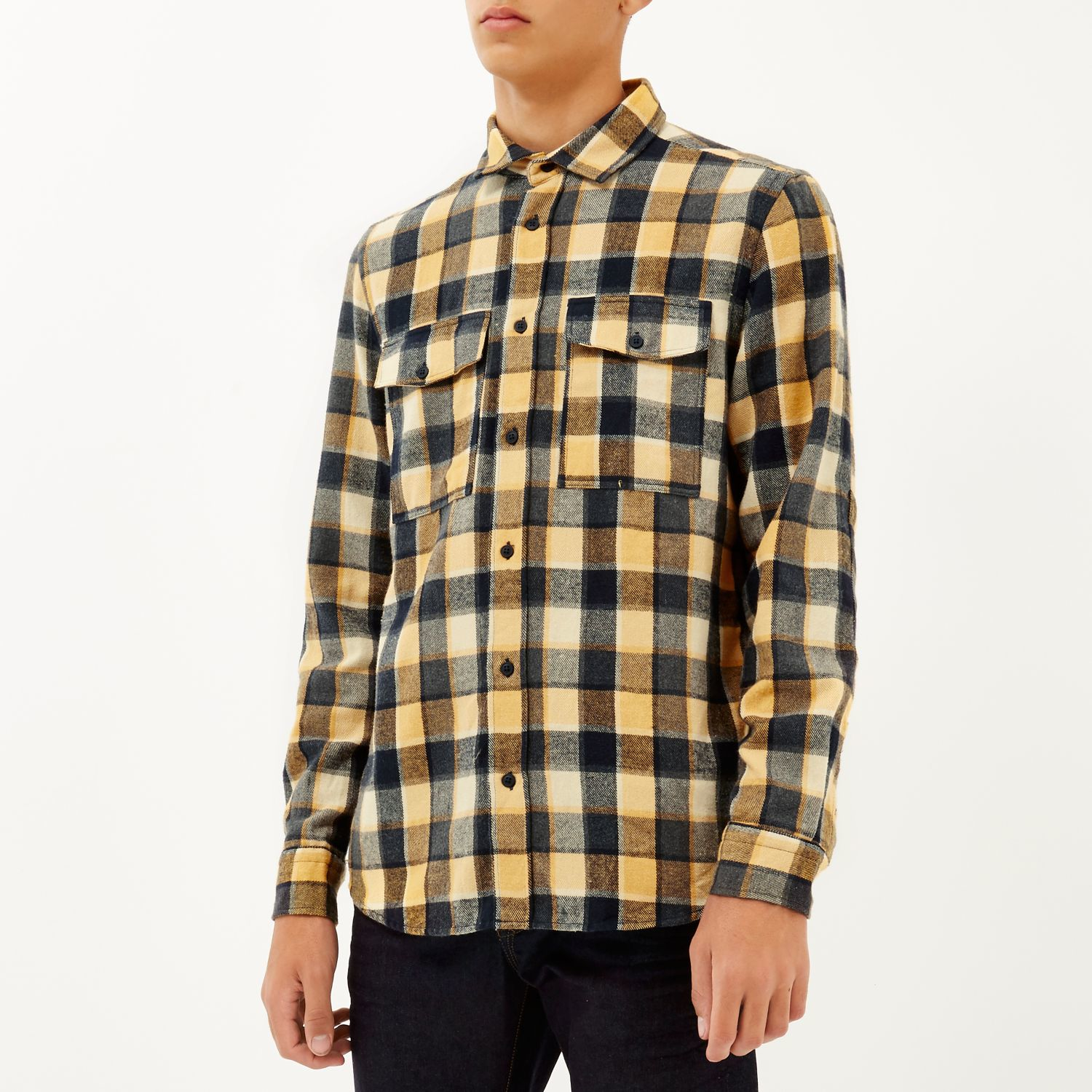 River island Yellow Check Two Pocket Flannel Shirt in Yellow for Men | Lyst