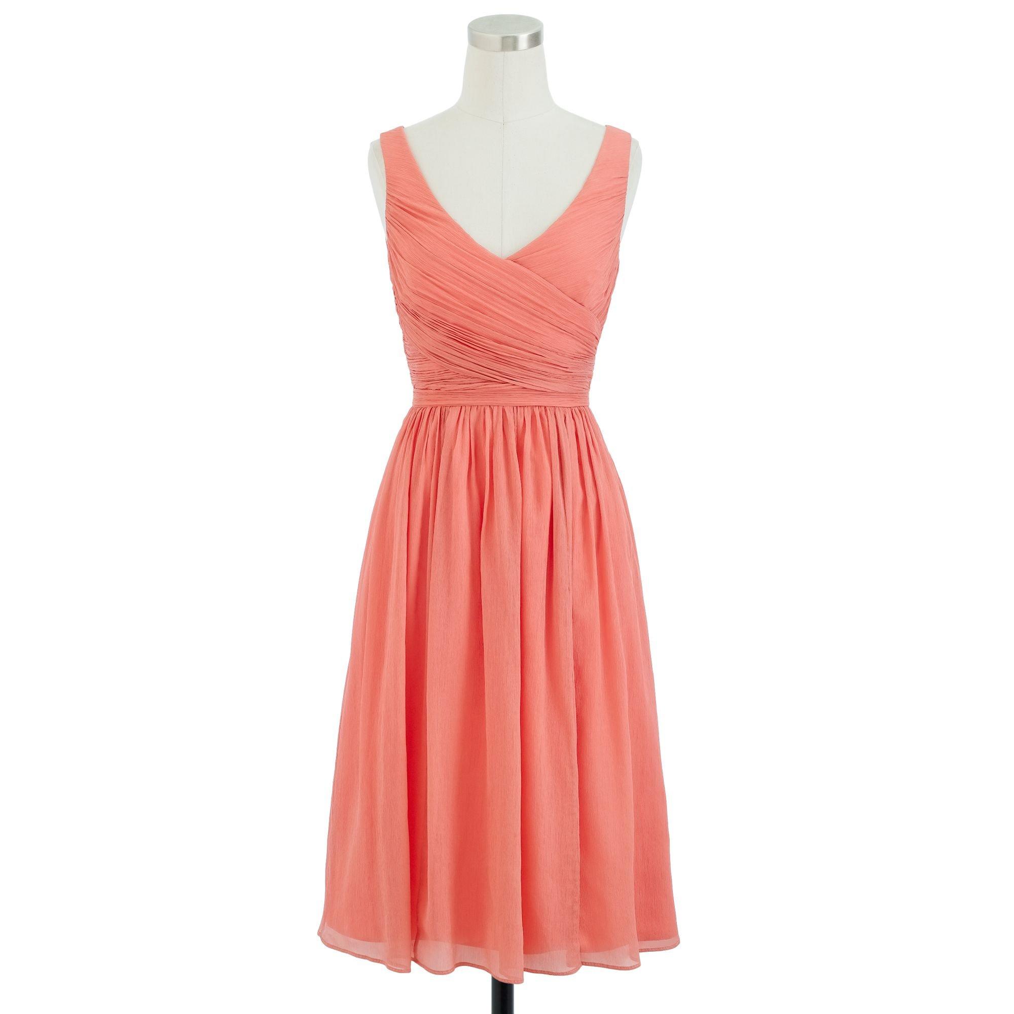 Chiffon Dressing Gown: J.crew Heidi Dress In Silk Chiffon In Pink (bright Coral