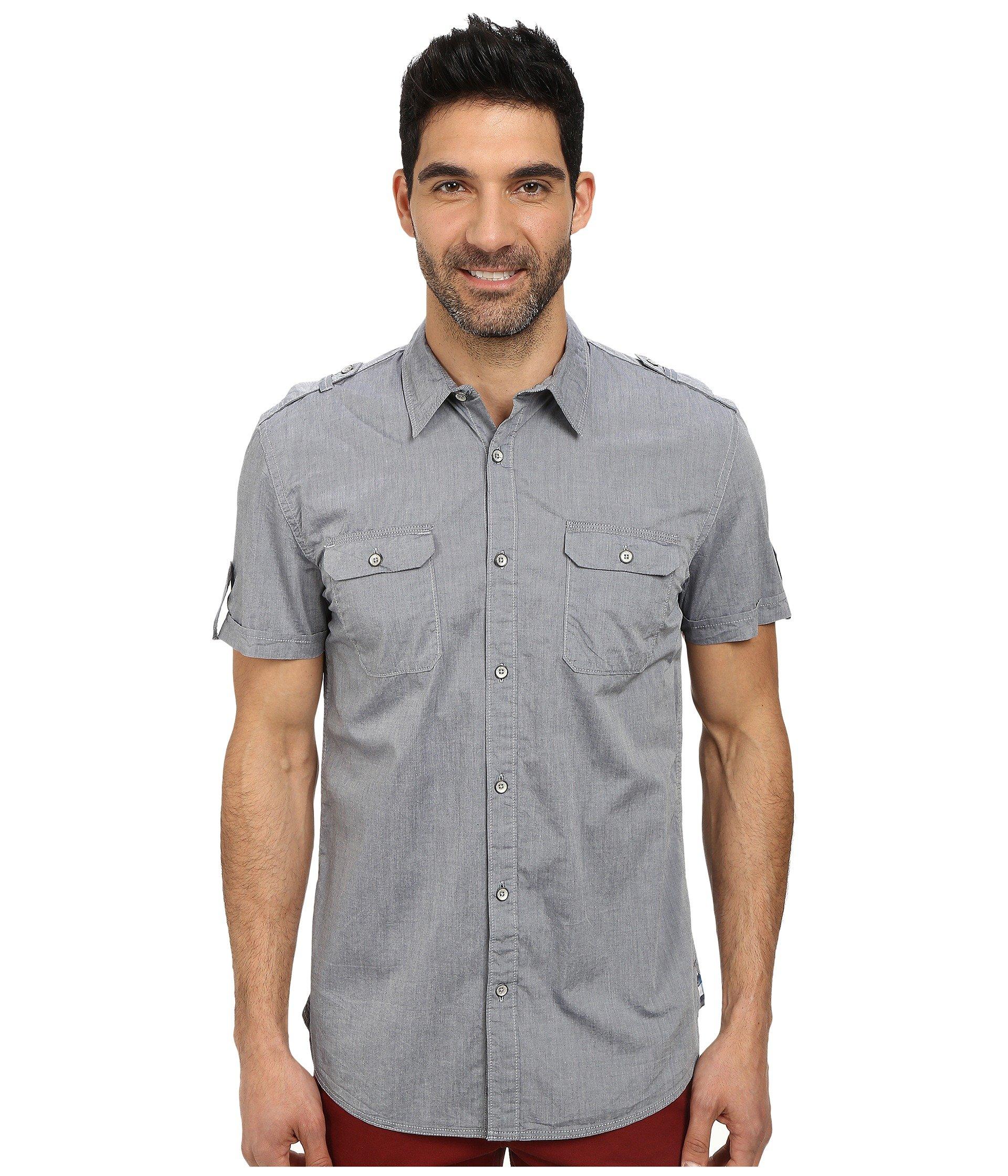 Dkny Short Sleeve Two Pocket Military Chambray Shirt In
